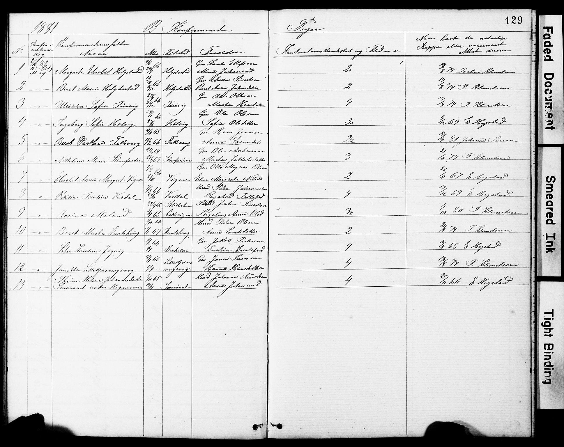 SAT, Ministerialprotokoller, klokkerbøker og fødselsregistre - Sør-Trøndelag, 634/L0541: Klokkerbok nr. 634C03, 1874-1891, s. 129