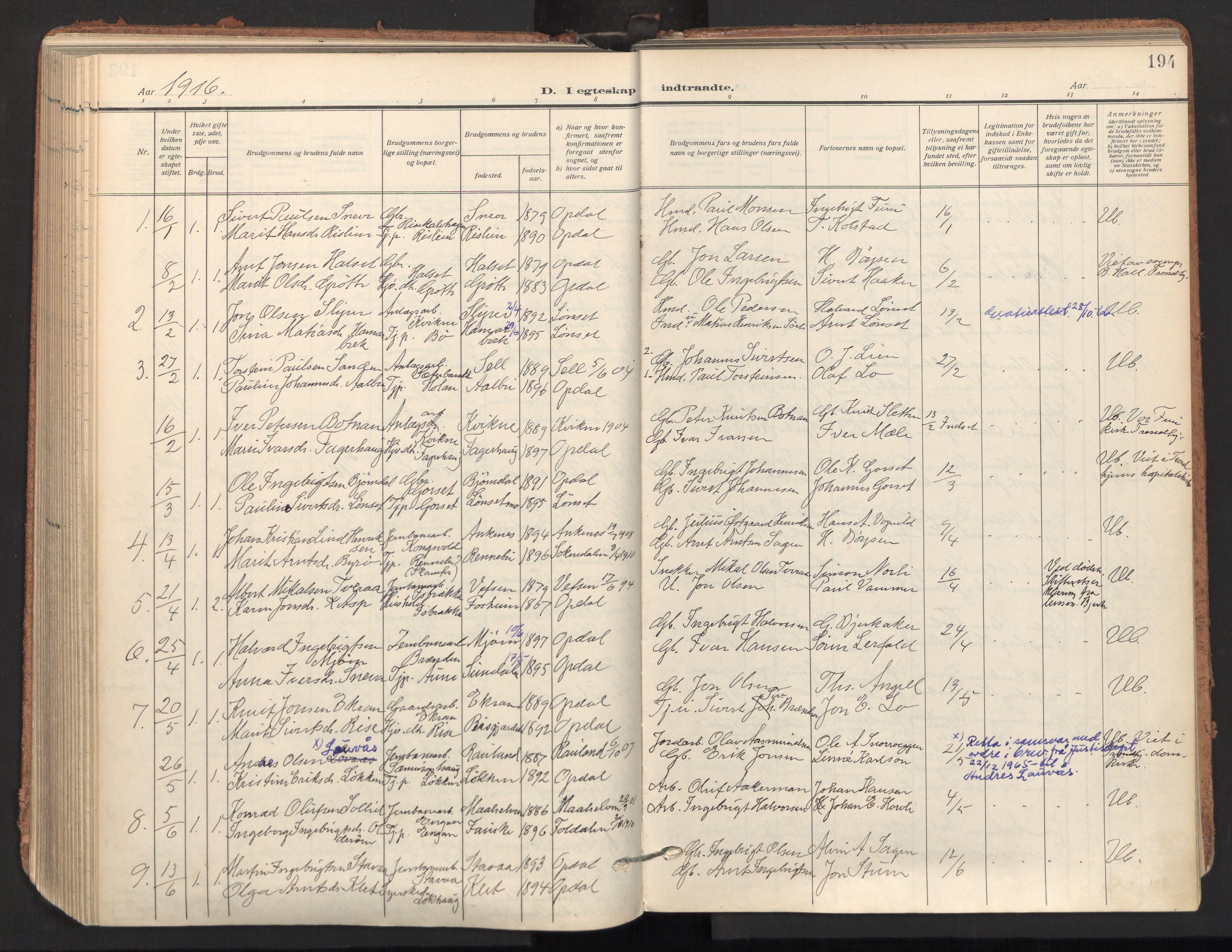 SAT, Ministerialprotokoller, klokkerbøker og fødselsregistre - Sør-Trøndelag, 678/L0909: Ministerialbok nr. 678A17, 1912-1930, s. 194