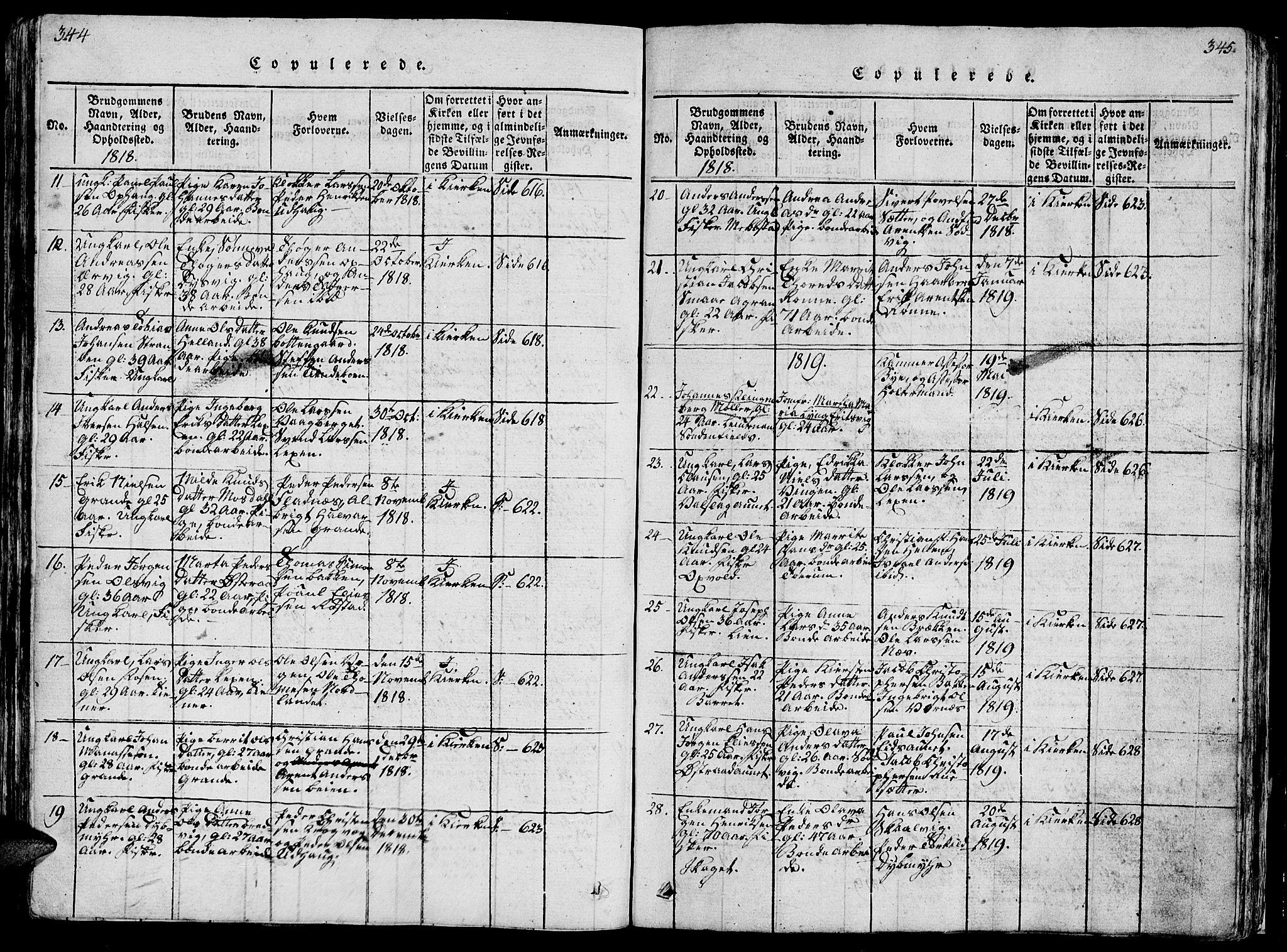 SAT, Ministerialprotokoller, klokkerbøker og fødselsregistre - Sør-Trøndelag, 659/L0744: Klokkerbok nr. 659C01, 1818-1825, s. 344-345