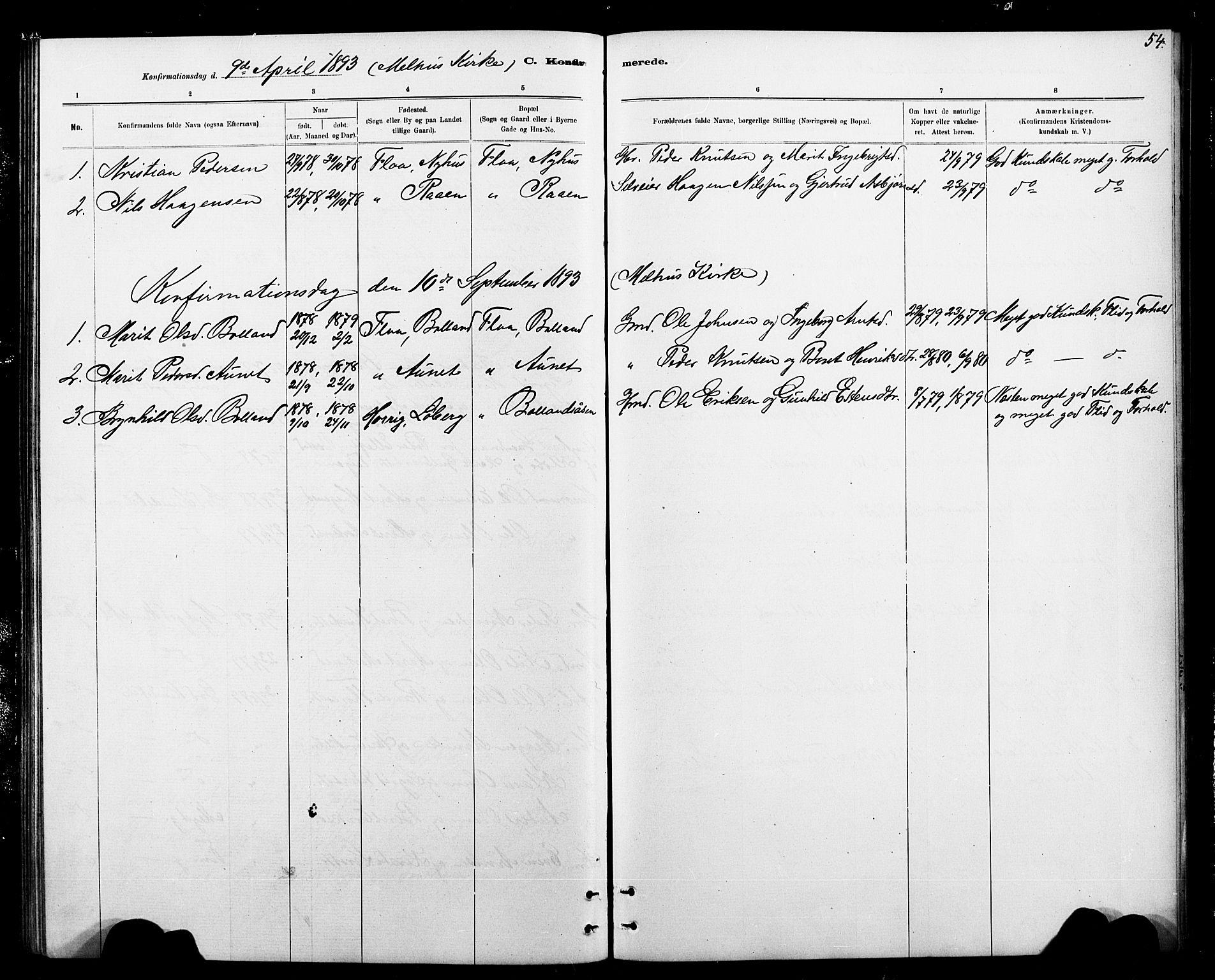 SAT, Ministerialprotokoller, klokkerbøker og fødselsregistre - Sør-Trøndelag, 693/L1123: Klokkerbok nr. 693C04, 1887-1910, s. 54