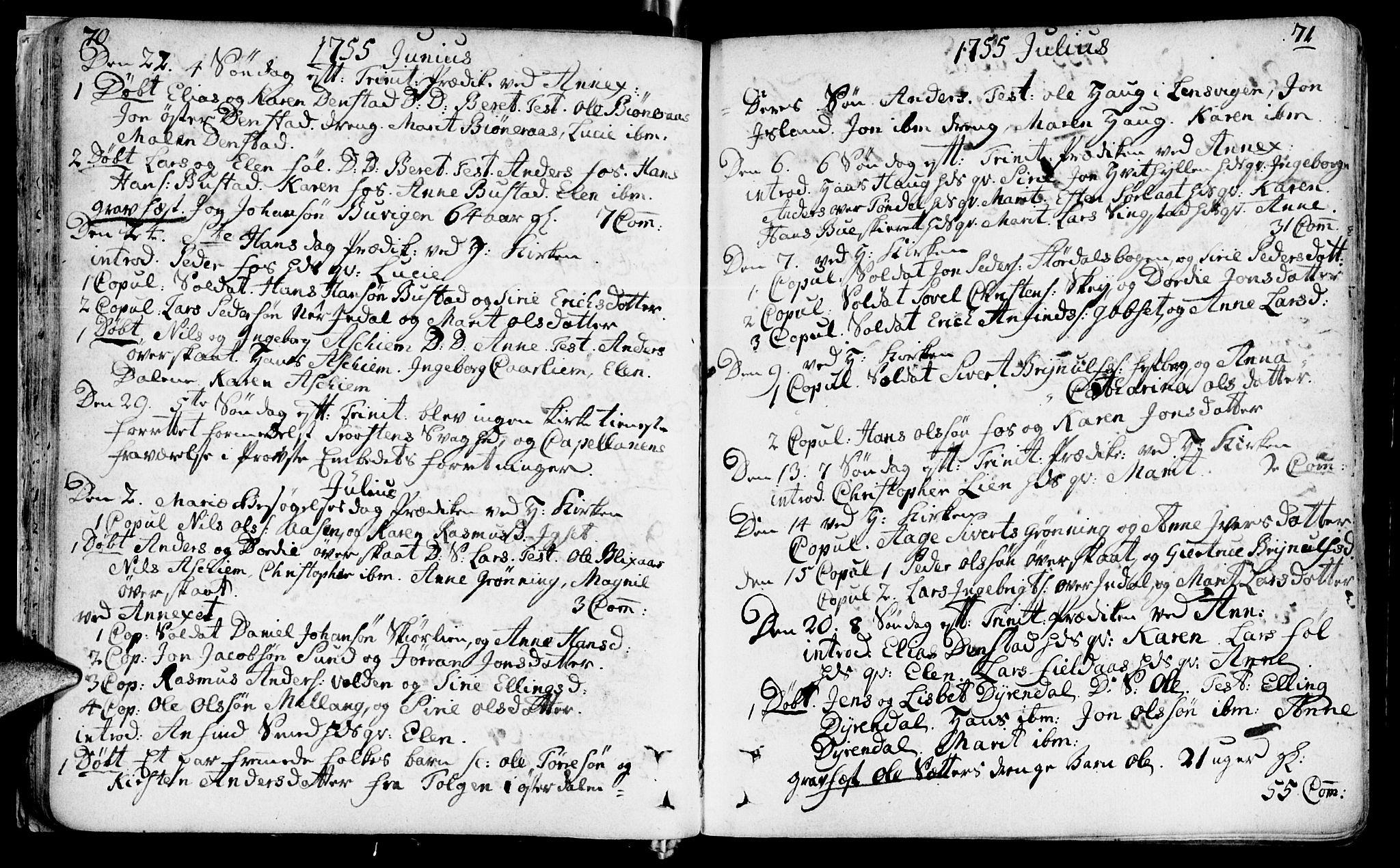 SAT, Ministerialprotokoller, klokkerbøker og fødselsregistre - Sør-Trøndelag, 646/L0605: Ministerialbok nr. 646A03, 1751-1790, s. 70-71