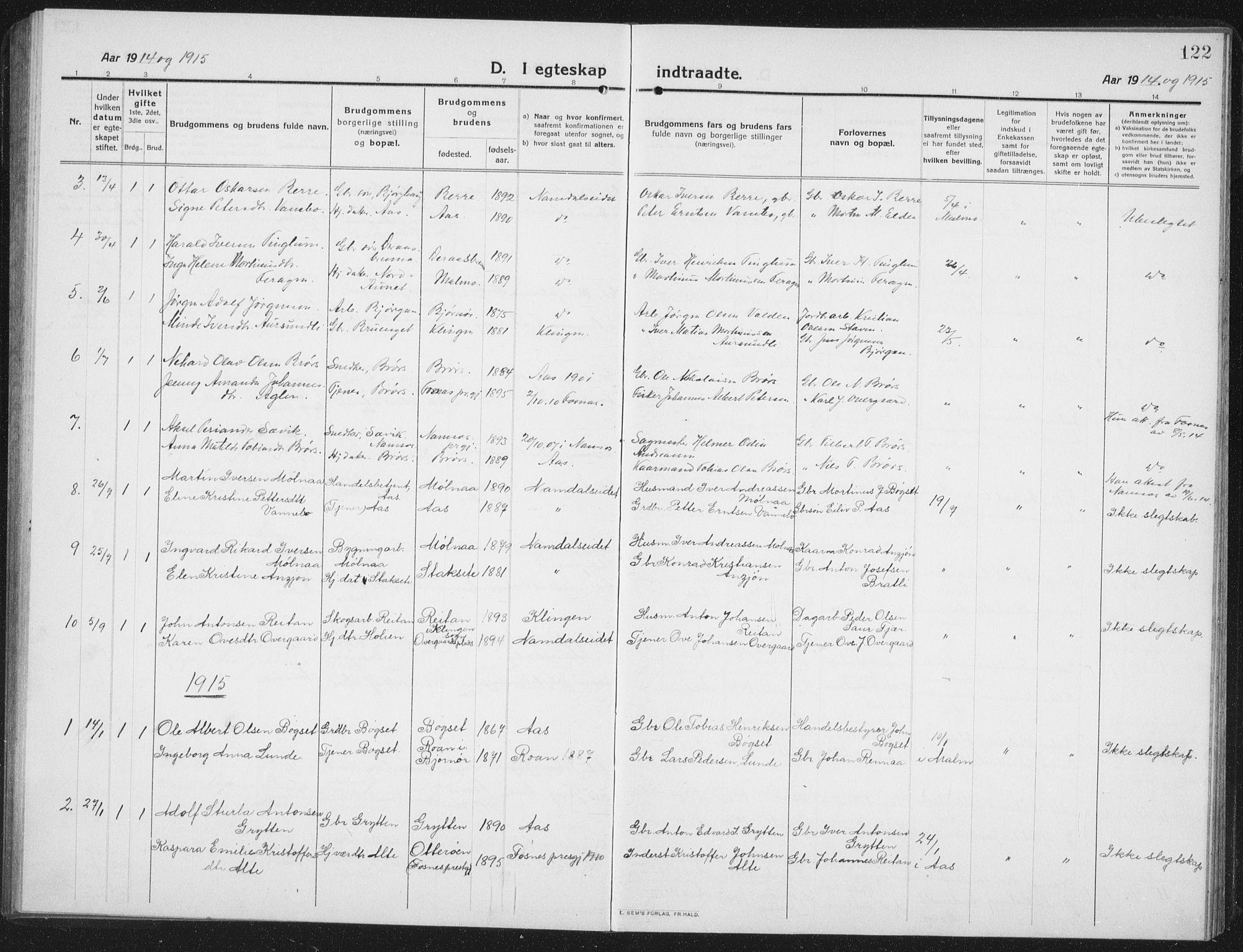 SAT, Ministerialprotokoller, klokkerbøker og fødselsregistre - Nord-Trøndelag, 742/L0413: Klokkerbok nr. 742C04, 1911-1938, s. 122