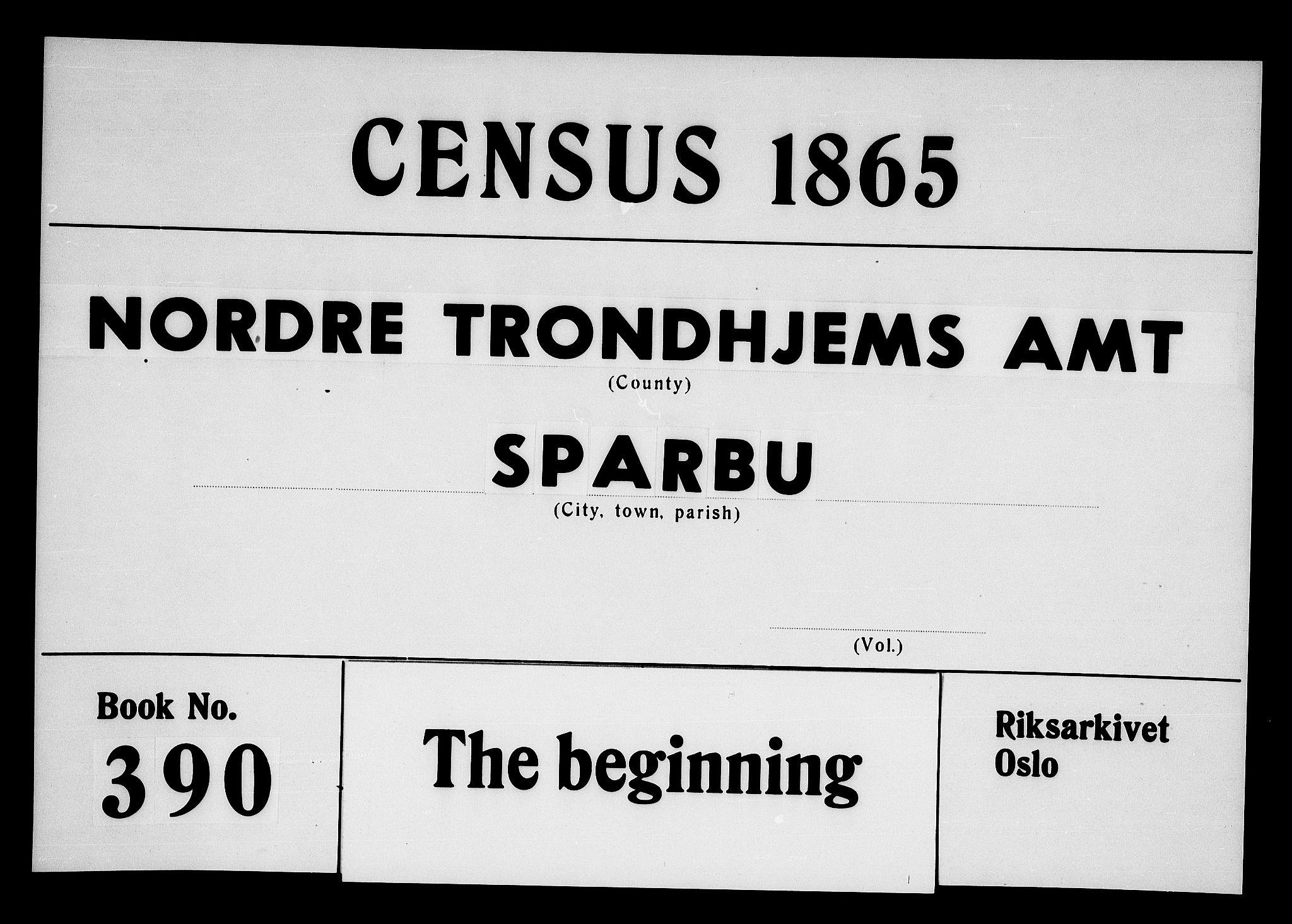 RA, Folketelling 1865 for 1731P Sparbu prestegjeld, 1865, s. 1
