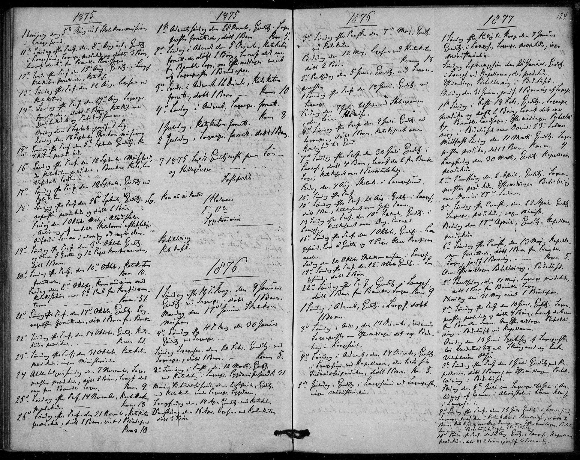 SAKO, Langesund kirkebøker, F/Fa/L0001: Ministerialbok nr. 1, 1870-1877, s. 124