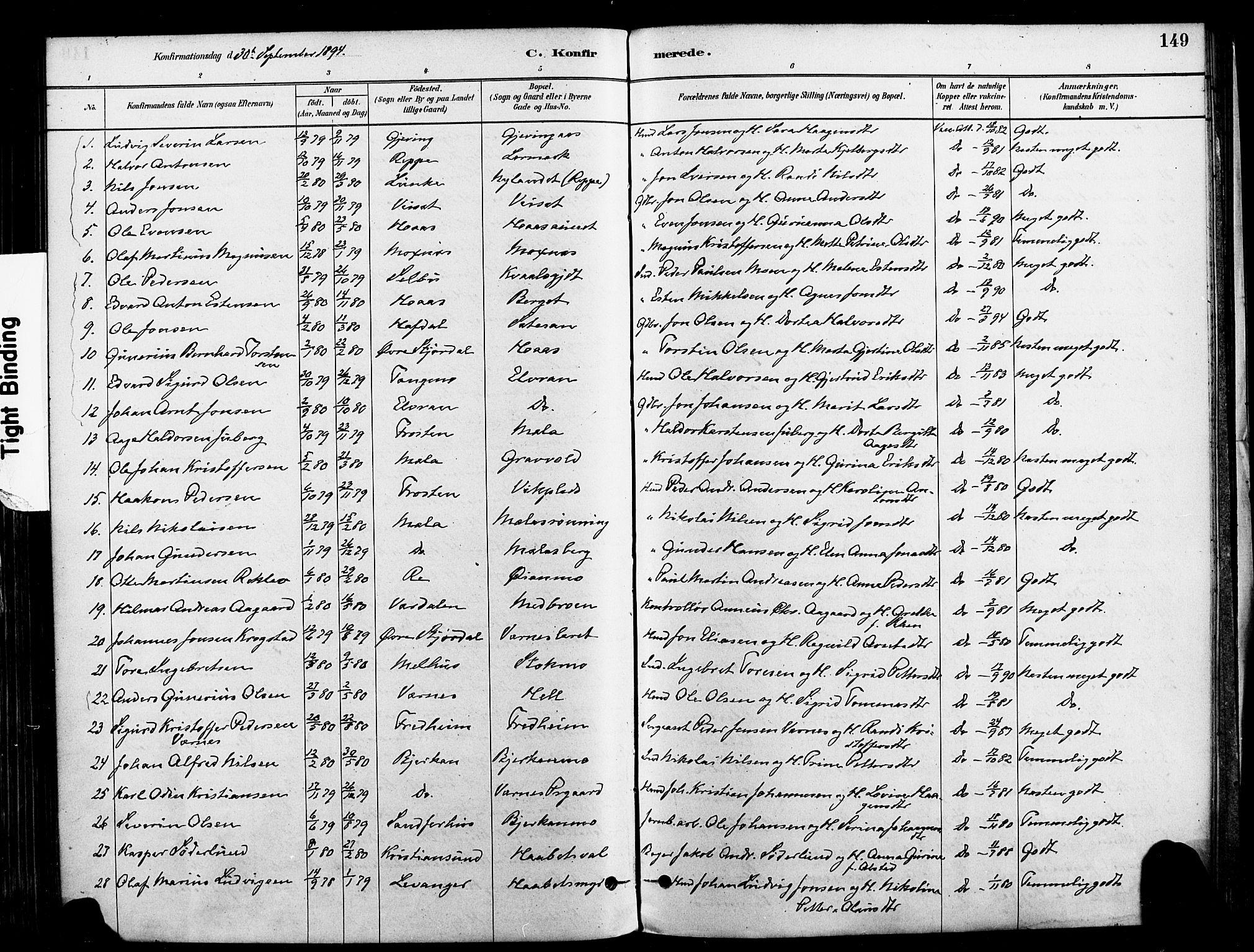 SAT, Ministerialprotokoller, klokkerbøker og fødselsregistre - Nord-Trøndelag, 709/L0077: Ministerialbok nr. 709A17, 1880-1895, s. 149