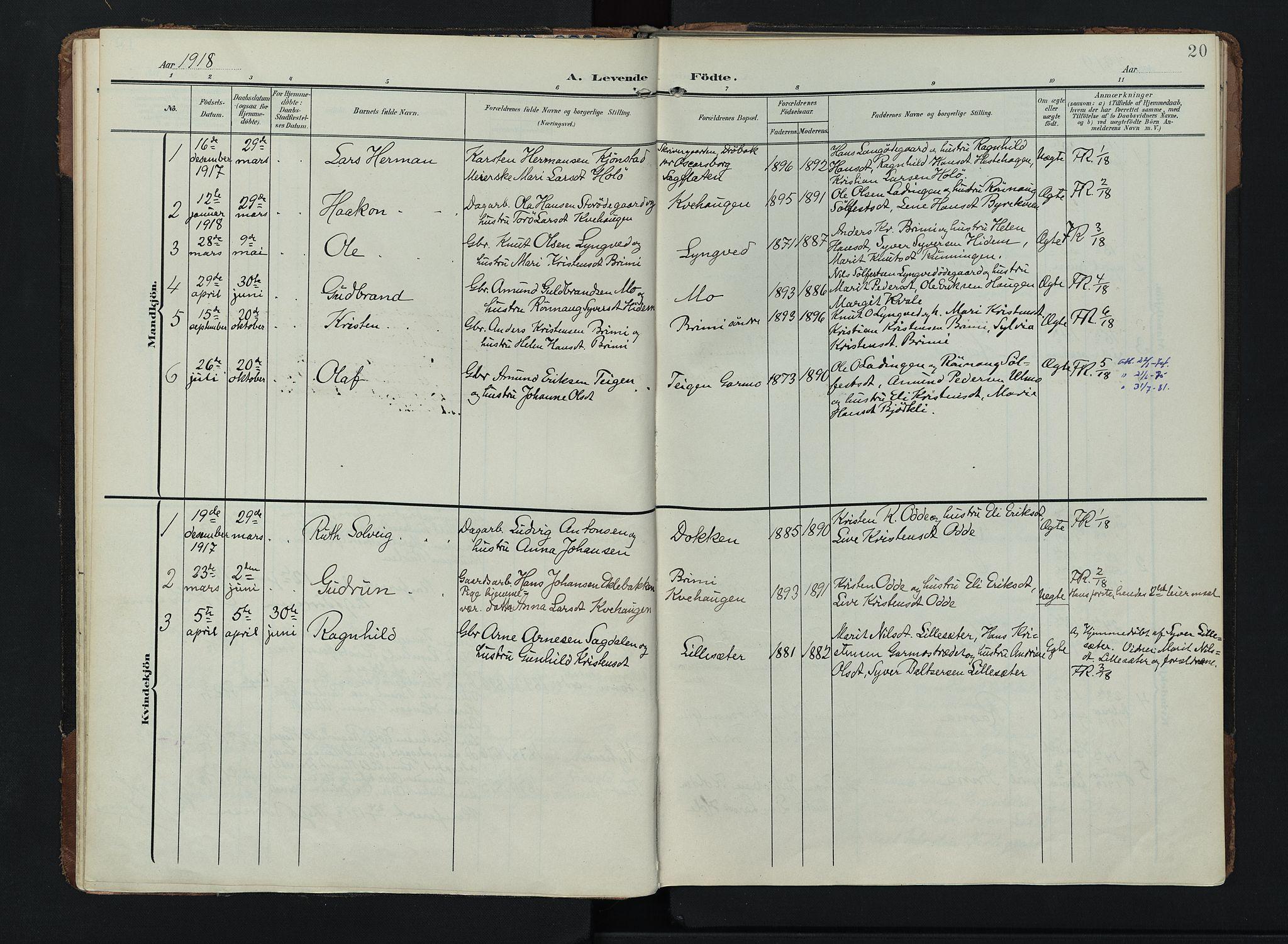 SAH, Lom prestekontor, K/L0011: Ministerialbok nr. 11, 1904-1928, s. 20