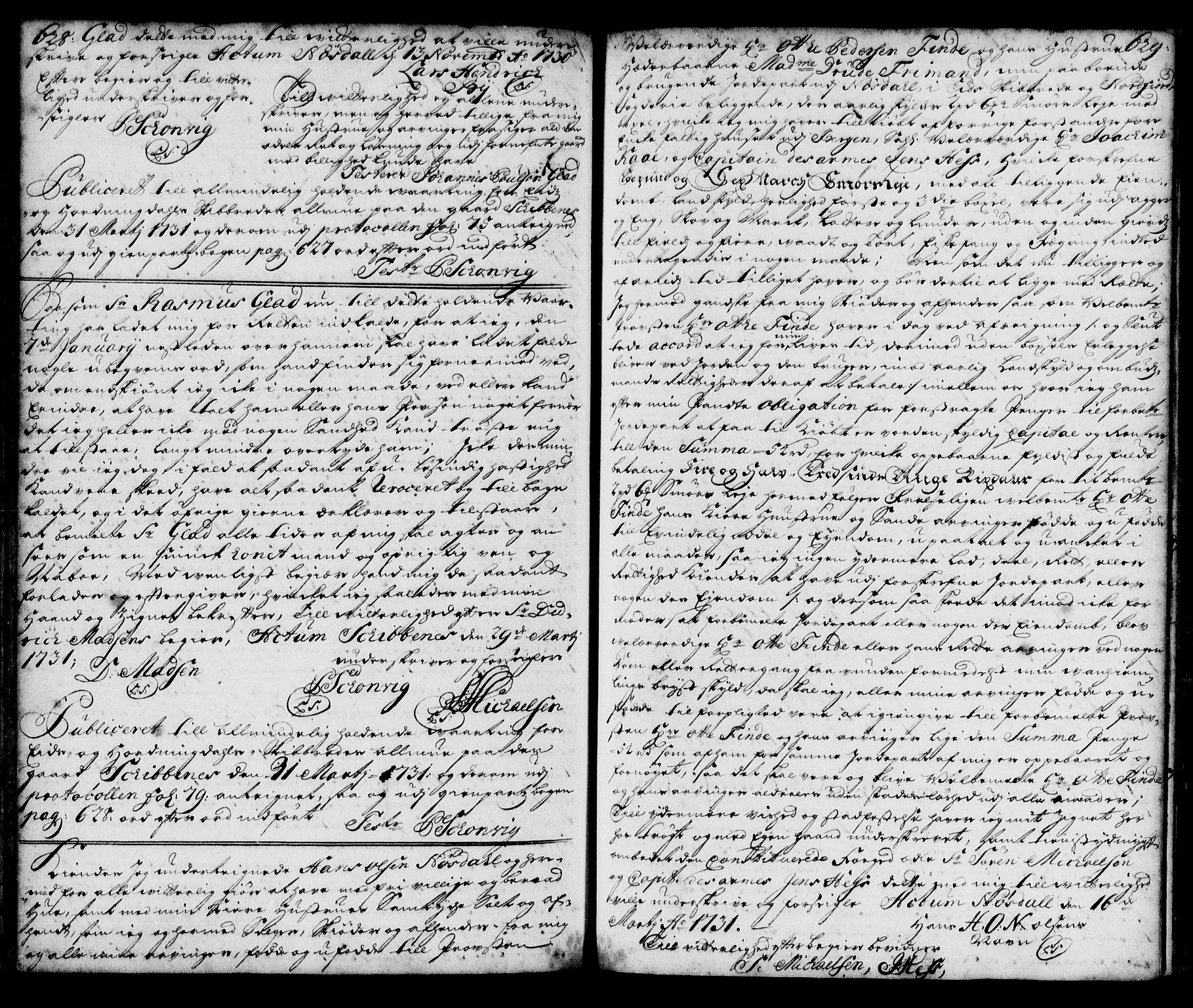 SAB, Nordfjord sorenskriveri, 02/02b/02ba/L0003: Pantebok nr. II.B.a.3, 1723-1733, s. 628-629
