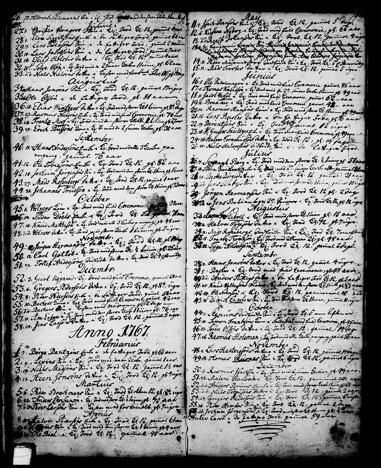 SAKO, Skien kirkebøker, G/Ga/L0001: Klokkerbok nr. 1, 1756-1791, s. 144