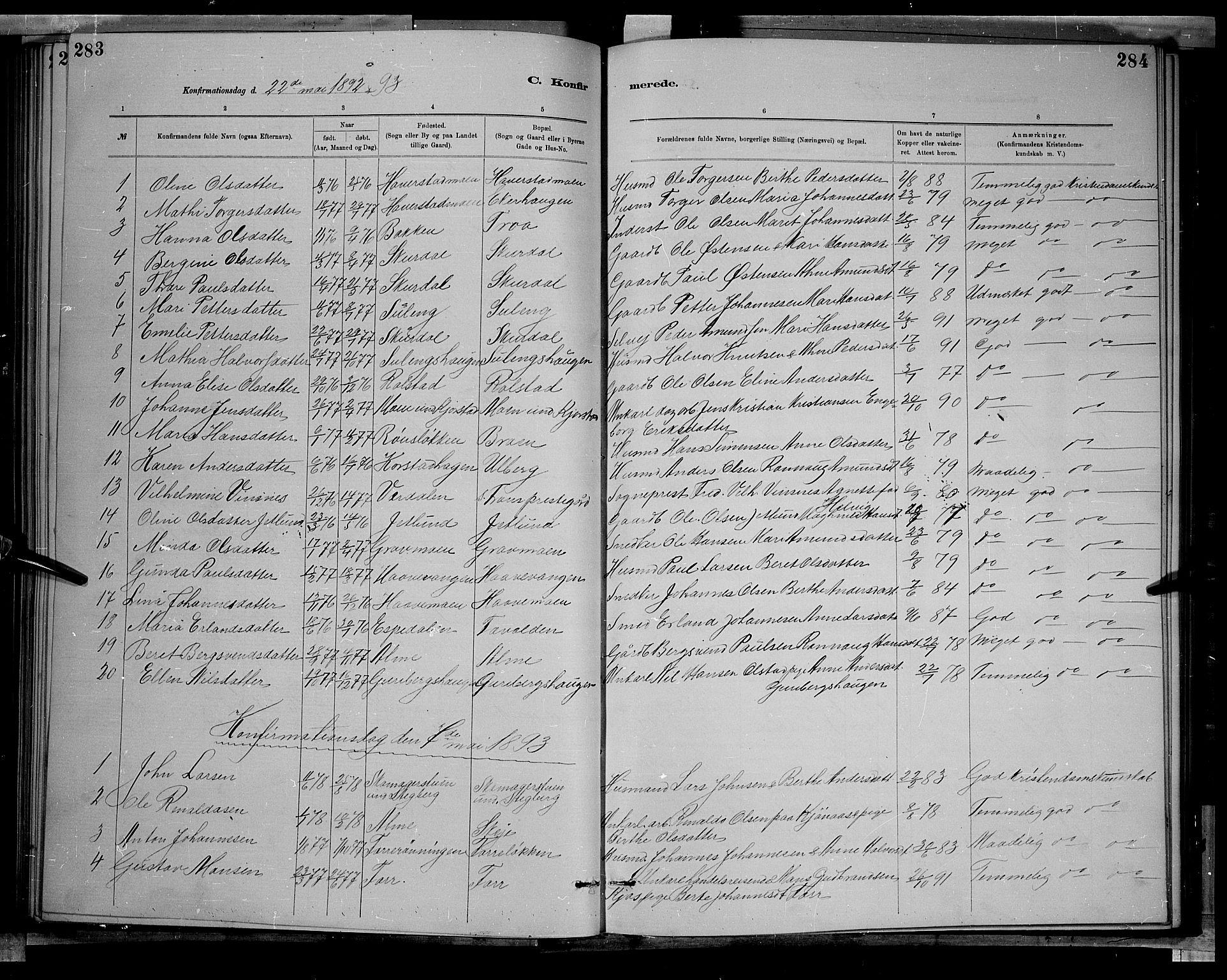 SAH, Sør-Fron prestekontor, H/Ha/Hab/L0003: Klokkerbok nr. 3, 1884-1896, s. 283-284