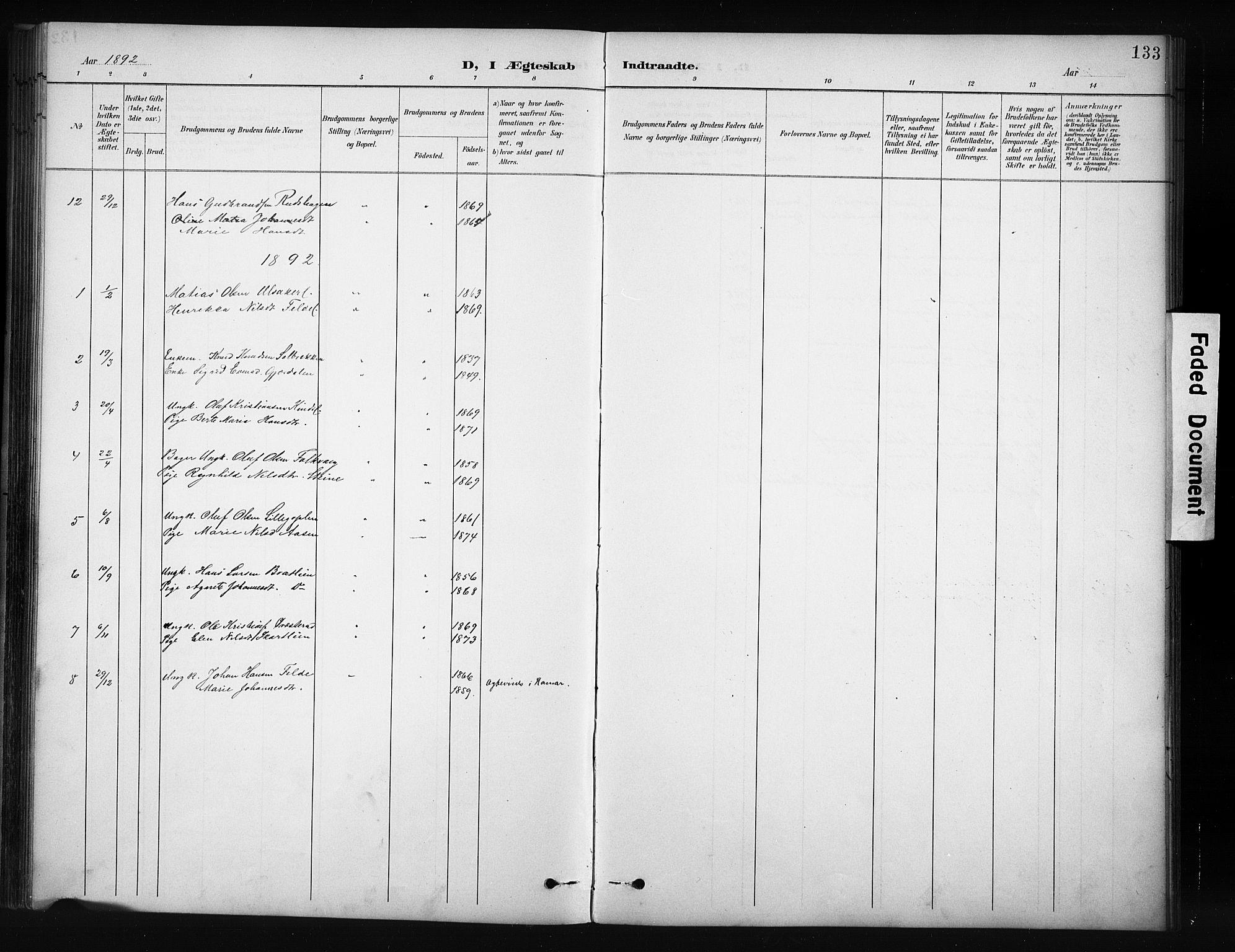 SAH, Nordre Land prestekontor, Klokkerbok nr. 12, 1891-1909, s. 133