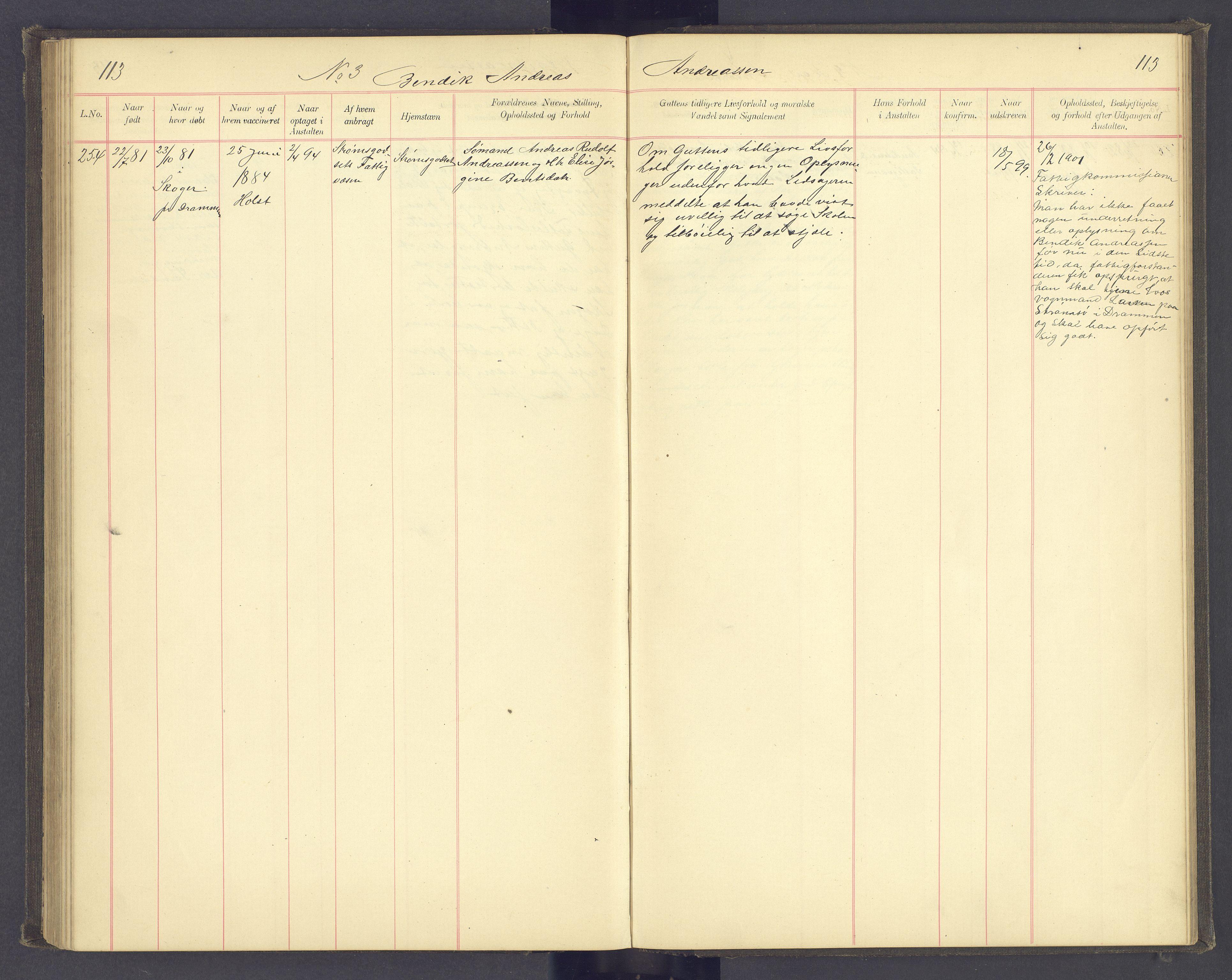 SAH, Toftes Gave, F/Fc/L0004: Elevprotokoll, 1885-1897, s. 113