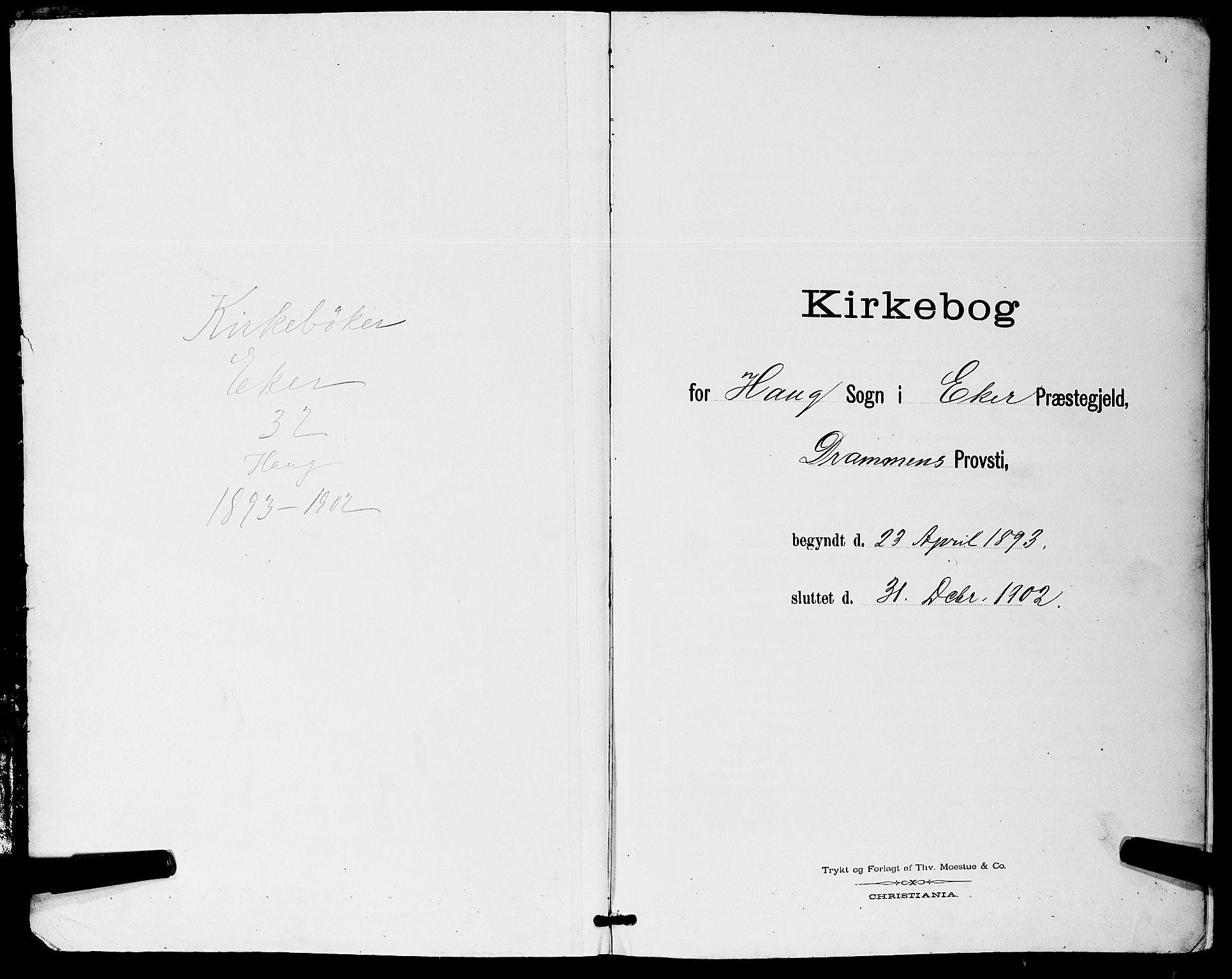 SAKO, Eiker kirkebøker, G/Ga/L0007: Klokkerbok nr. I 7, 1893-1902
