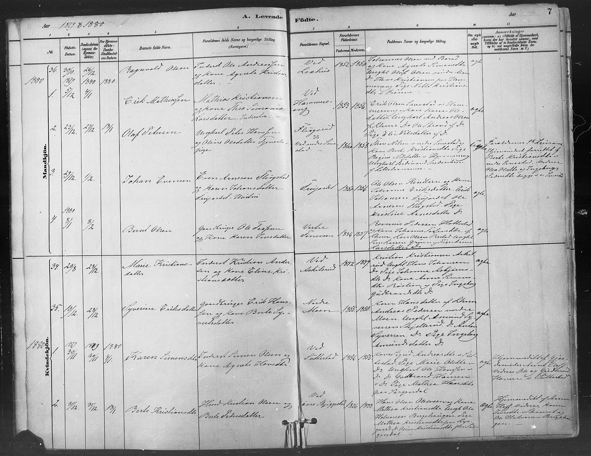 SAH, Fåberg prestekontor, Ministerialbok nr. 9, 1879-1898, s. 7