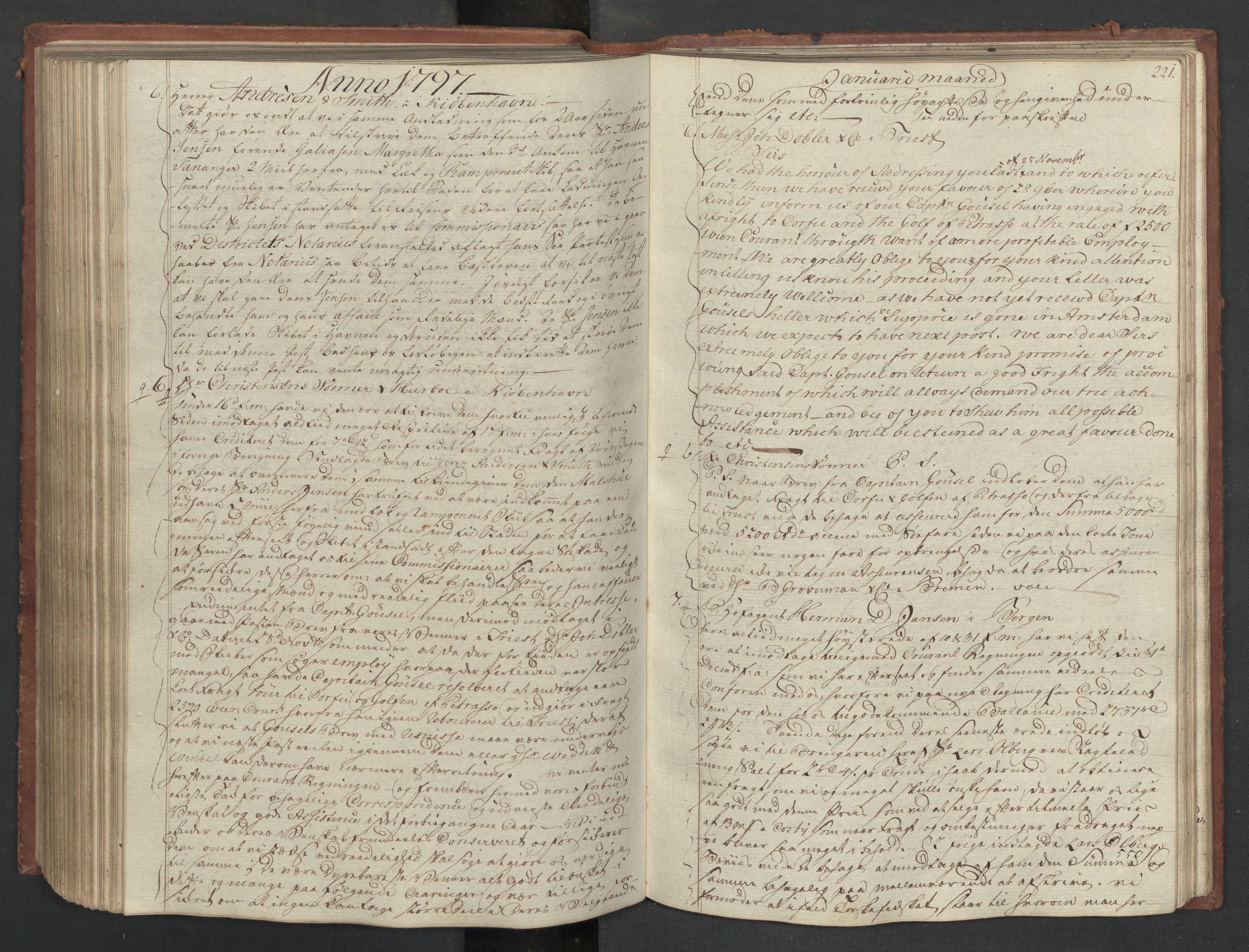 SAST, Pa 0003 - Ploug & Sundt, handelshuset, B/L0007: Kopibok, 1793-1797, s. 220b-221a