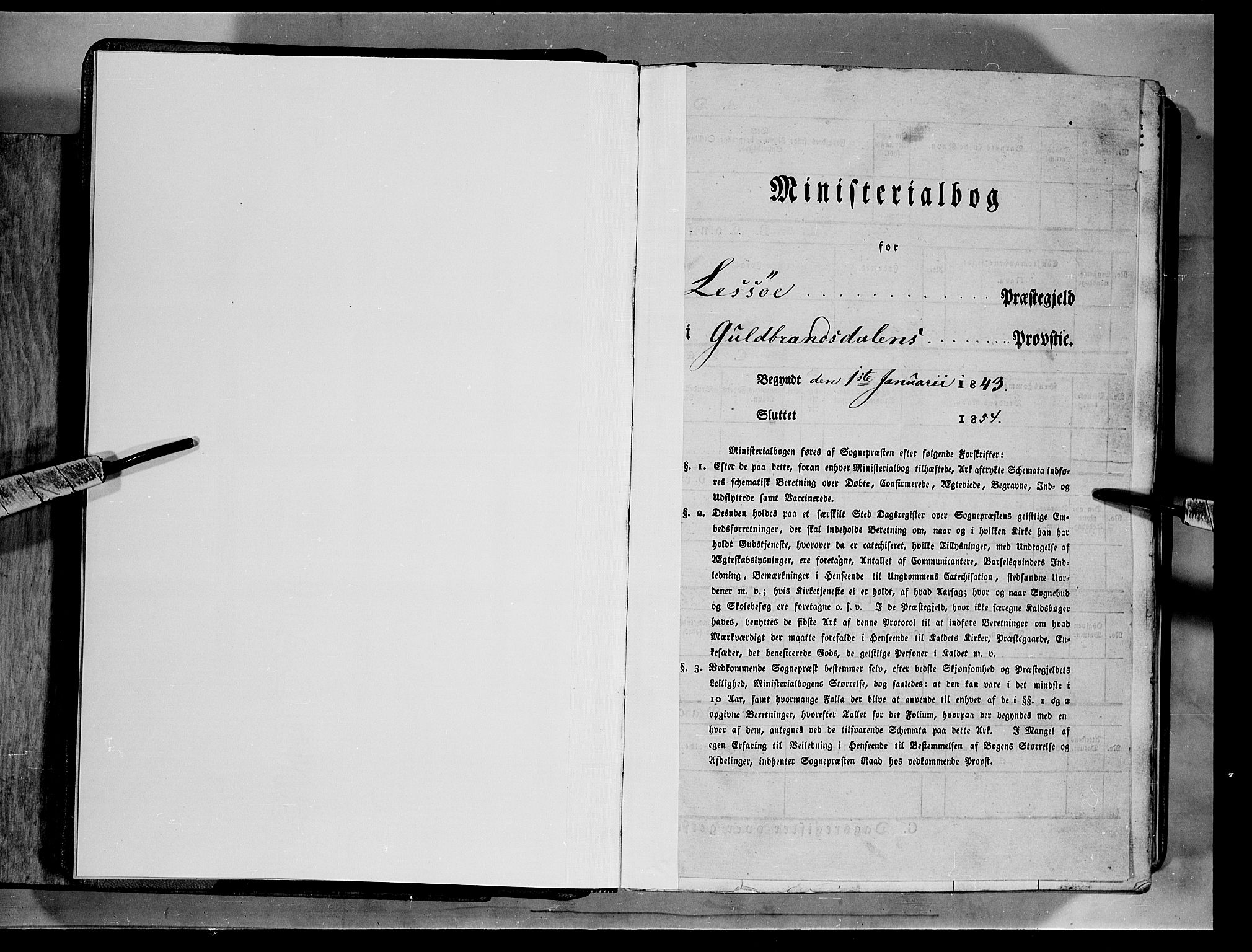 SAH, Lesja prestekontor, Ministerialbok nr. 6A, 1843-1854