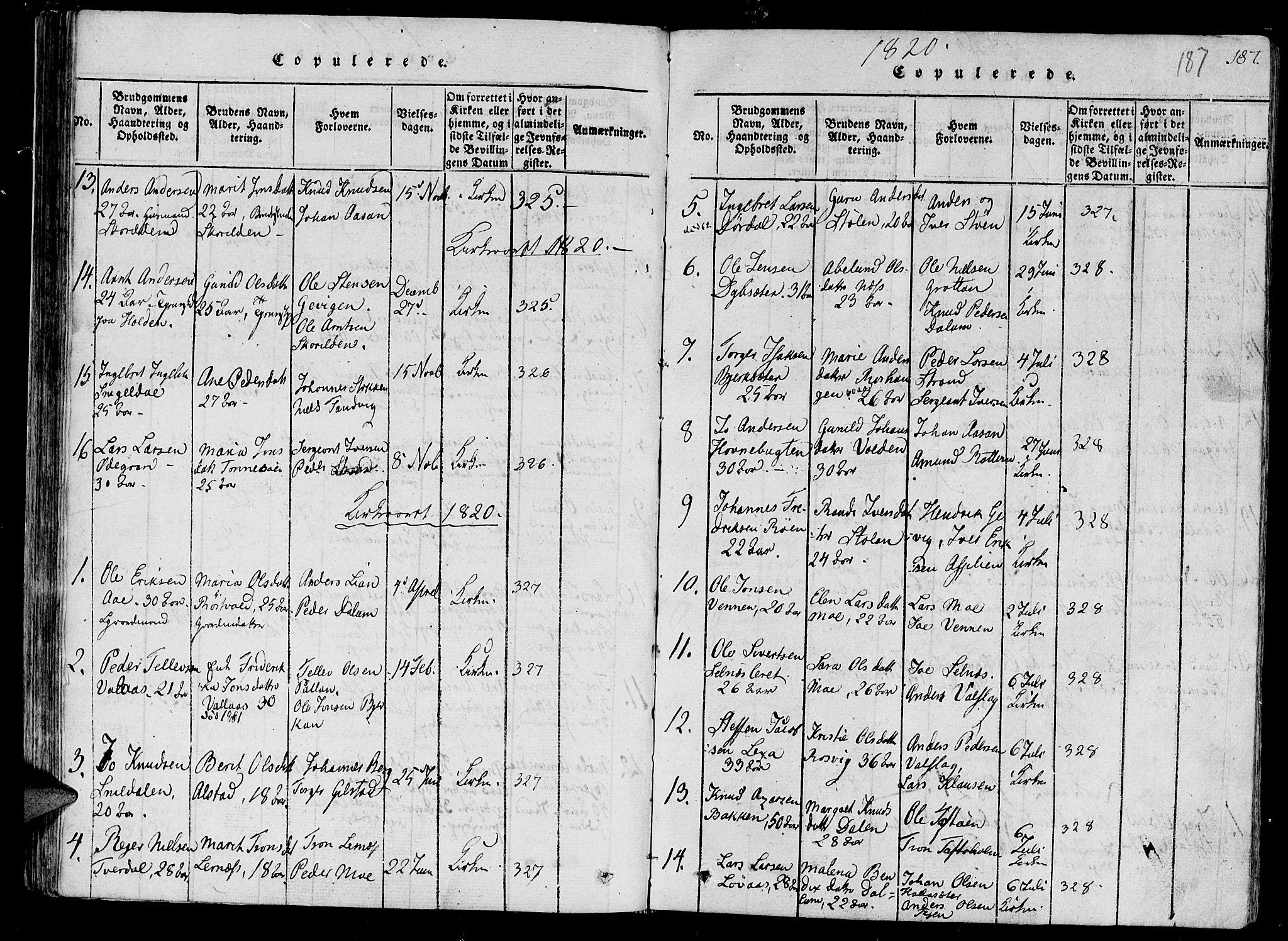 SAT, Ministerialprotokoller, klokkerbøker og fødselsregistre - Sør-Trøndelag, 630/L0491: Ministerialbok nr. 630A04, 1818-1830, s. 187