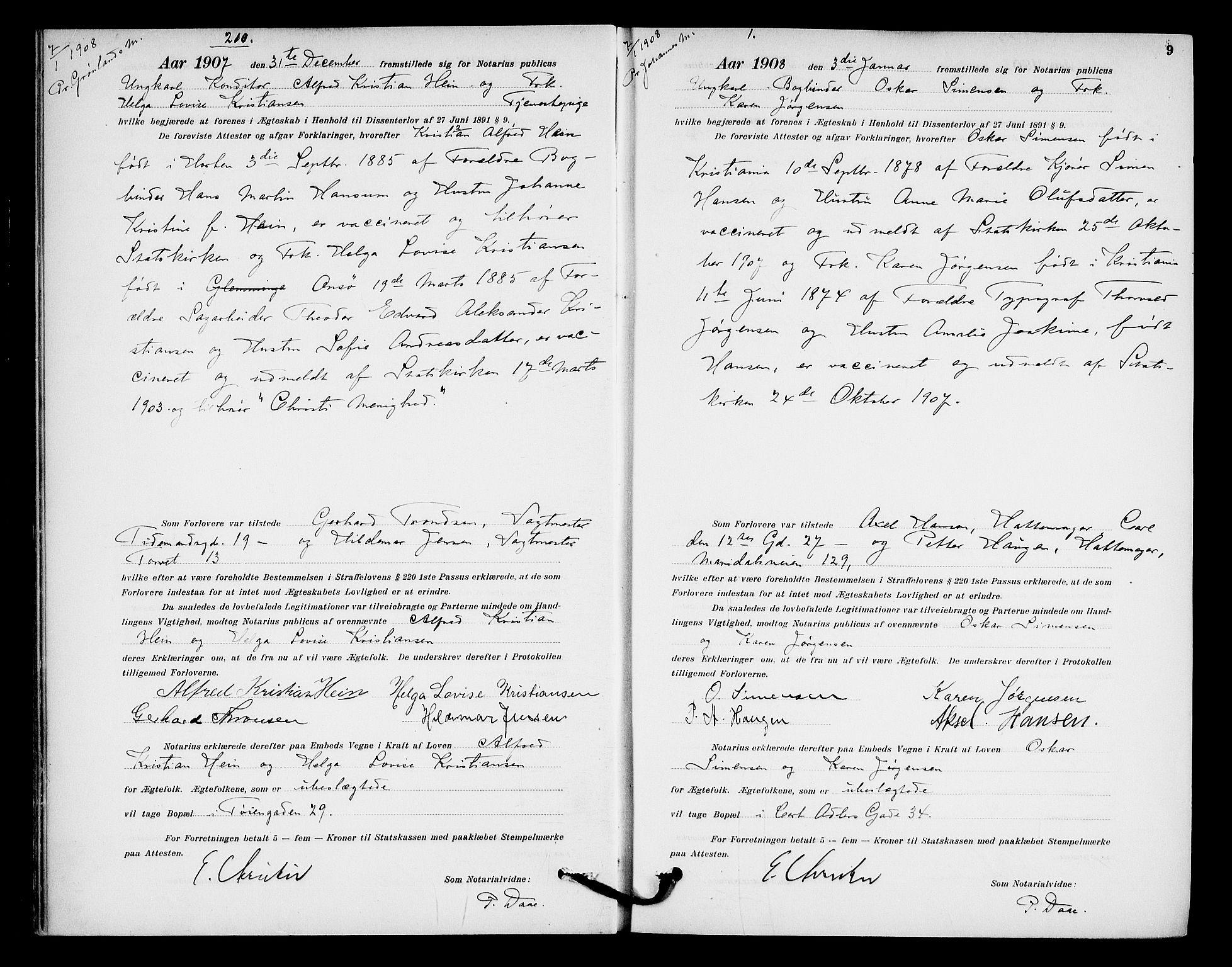 SAO, Oslo byfogd avd. I, L/Lb/Lbb/L0007: Notarialprotokoll, rekke II: Vigsler, 1907-1911, s. 8b-9a