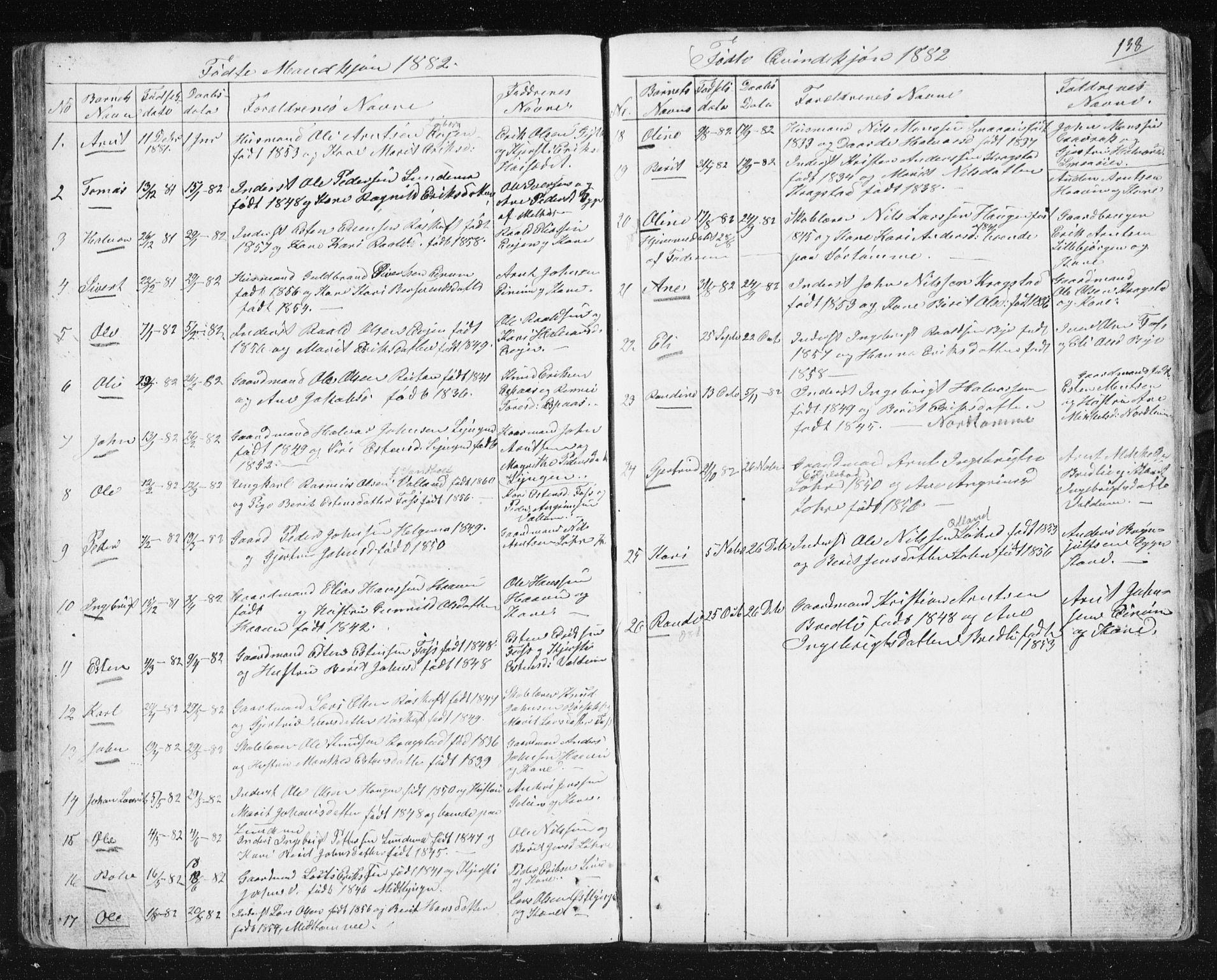 SAT, Ministerialprotokoller, klokkerbøker og fødselsregistre - Sør-Trøndelag, 692/L1110: Klokkerbok nr. 692C05, 1849-1889, s. 138