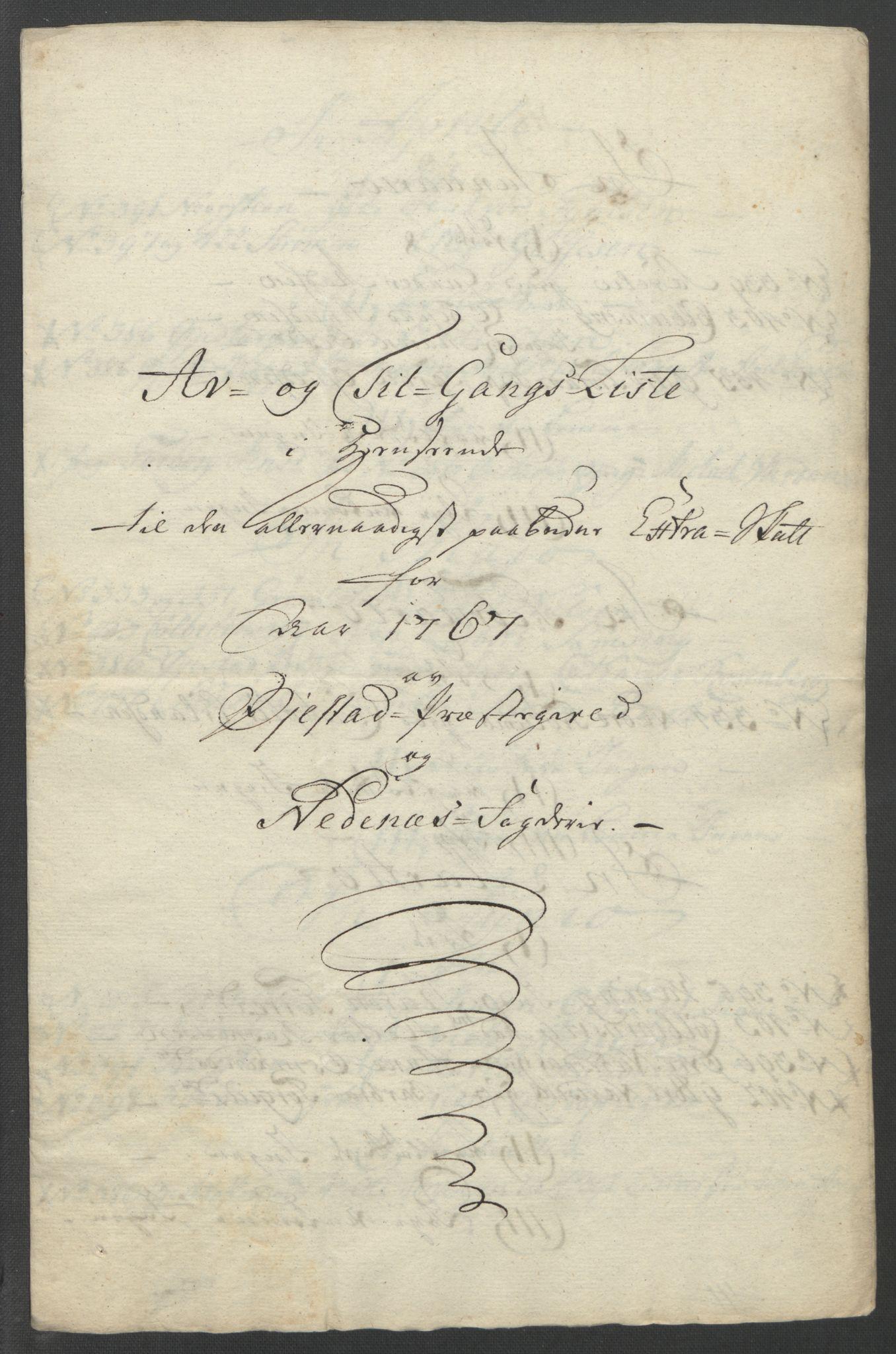RA, Rentekammeret inntil 1814, Reviderte regnskaper, Fogderegnskap, R39/L2424: Ekstraskatten Nedenes, 1762-1767, s. 386