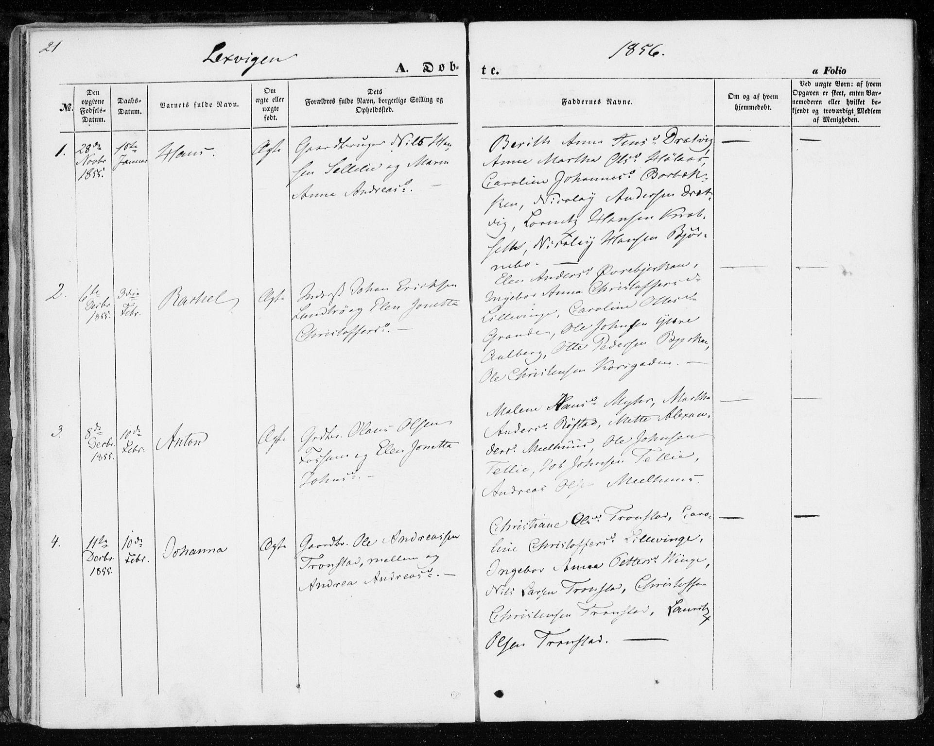 SAT, Ministerialprotokoller, klokkerbøker og fødselsregistre - Nord-Trøndelag, 701/L0008: Ministerialbok nr. 701A08 /1, 1854-1863, s. 21