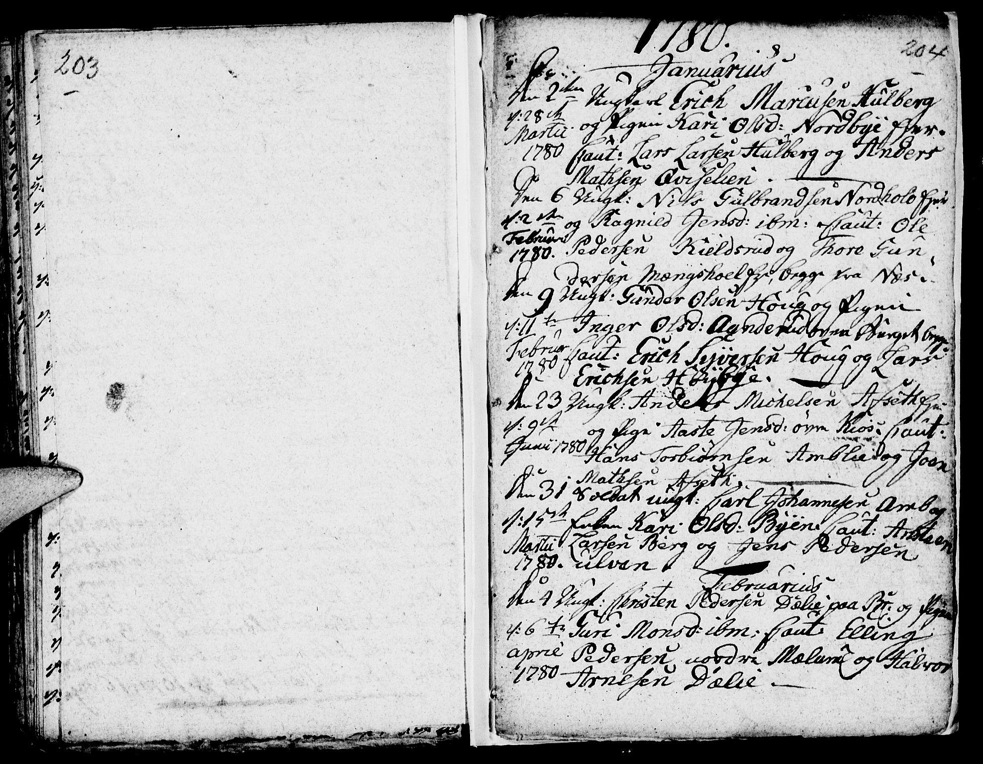 SAH, Ringsaker prestekontor, I/Ia/L0005/0003: Kladd til kirkebok nr. 1C, 1780-1784, s. 203-204