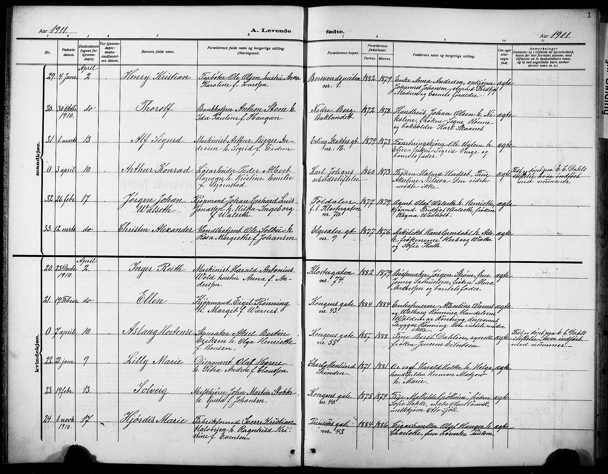 SAT, Ministerialprotokoller, klokkerbøker og fødselsregistre - Sør-Trøndelag, 601/L0096: Klokkerbok nr. 601C14, 1911-1931, s. 1