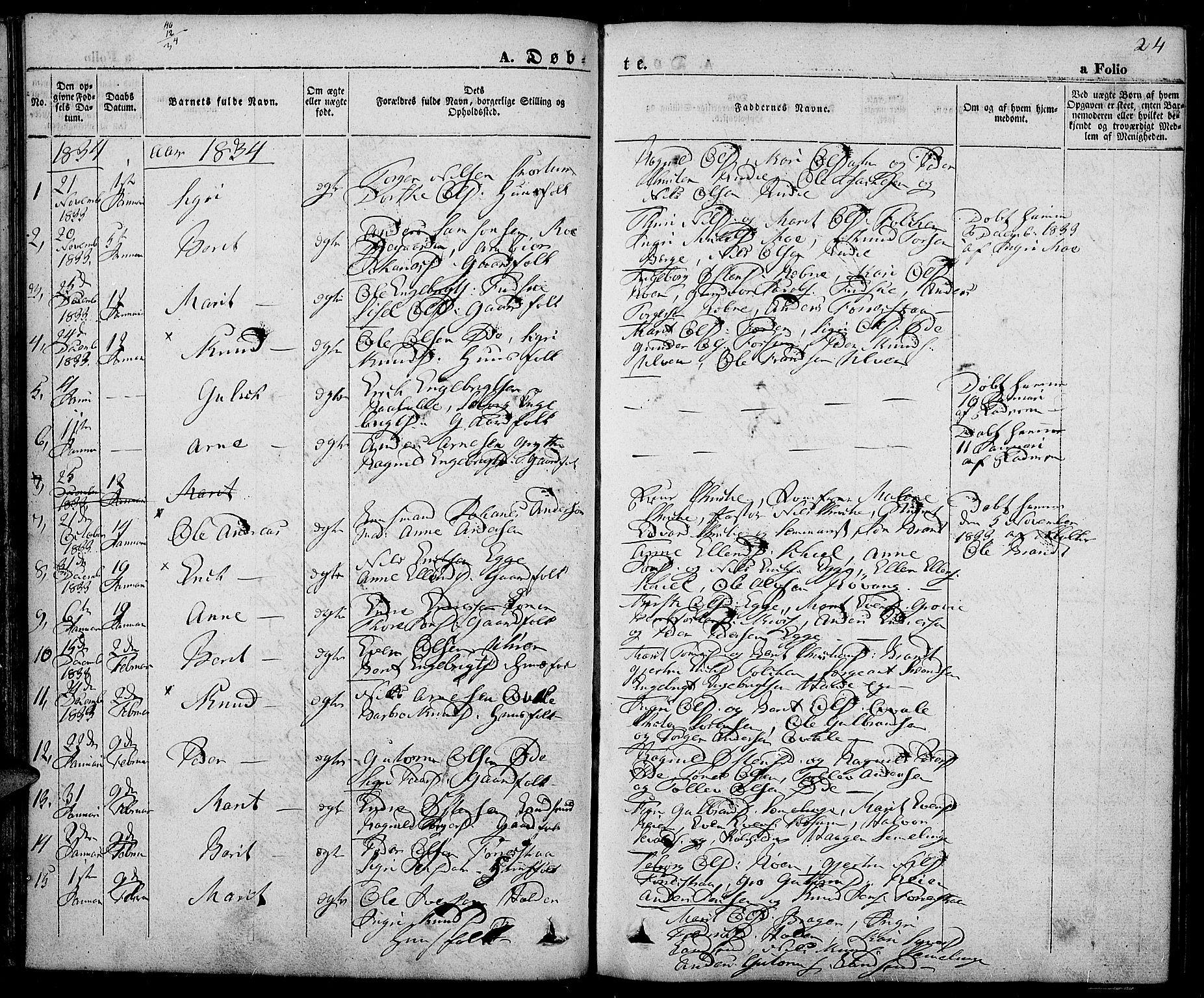 SAH, Slidre prestekontor, Ministerialbok nr. 3, 1831-1843, s. 24