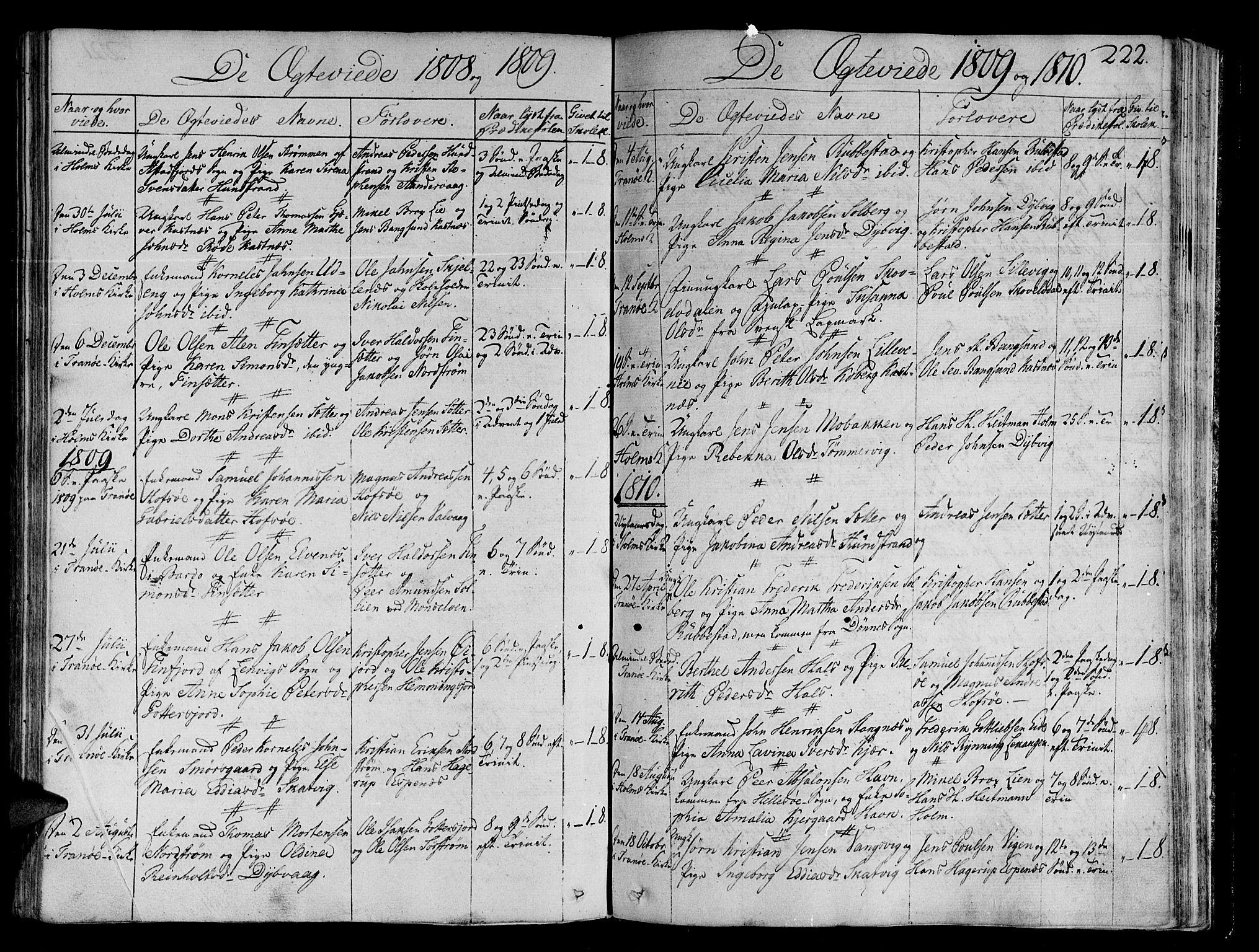 SATØ, Tranøy sokneprestkontor, I/Ia/Iaa/L0003kirke: Ministerialbok nr. 3, 1807-1820, s. 222