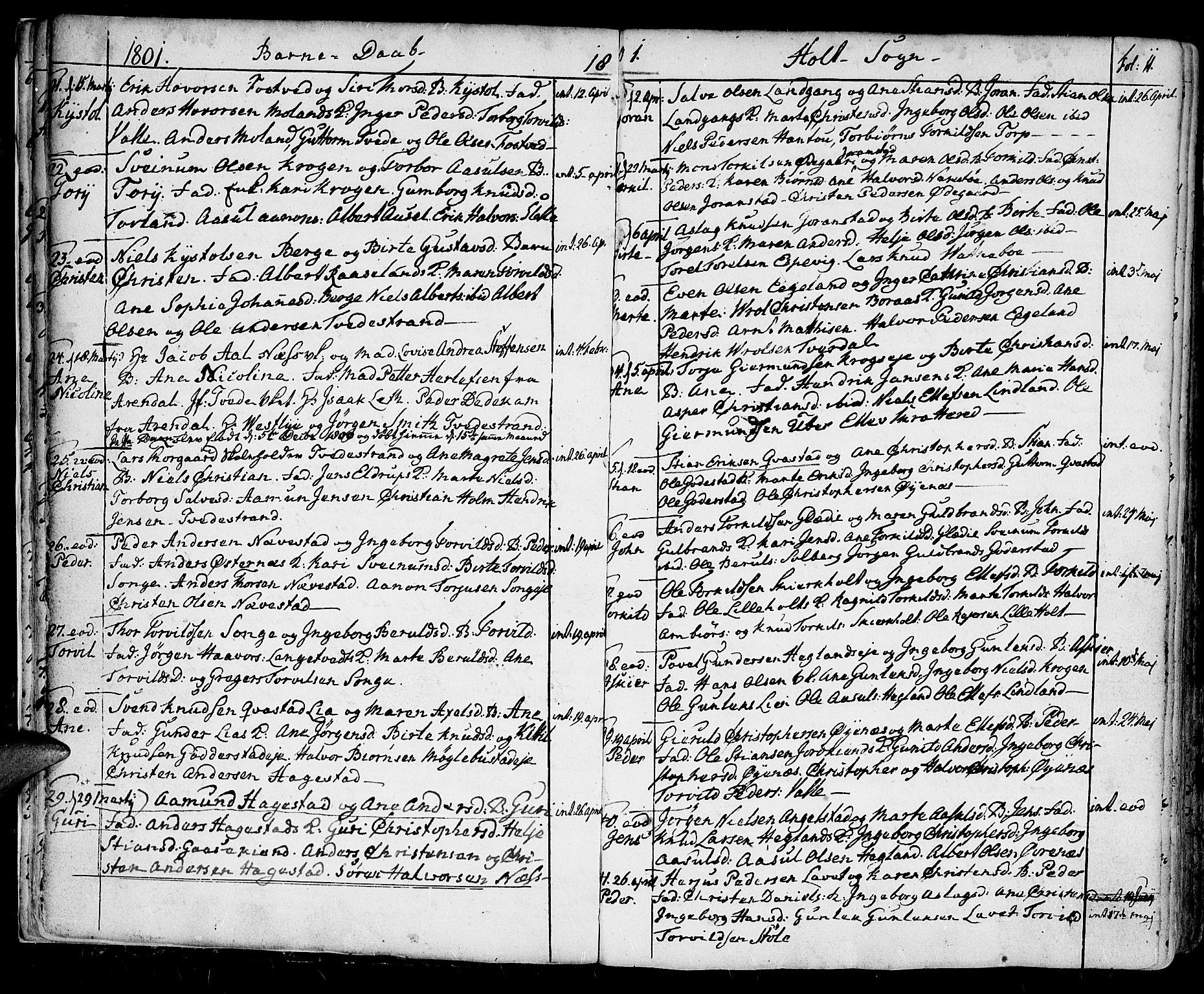 SAK, Holt sokneprestkontor, F/Fa/L0004: Ministerialbok nr. A 4, 1799-1813, s. 11