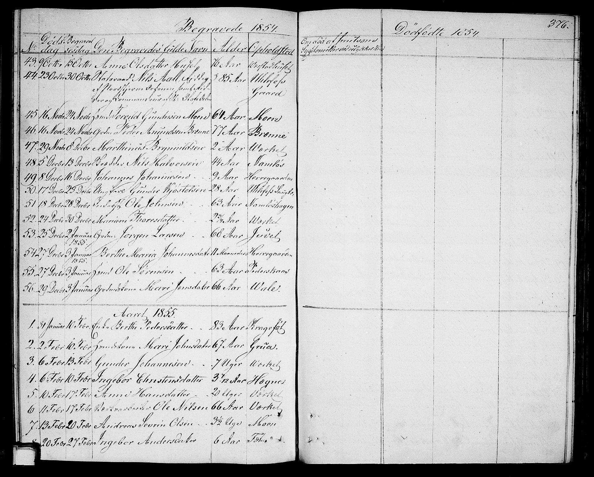 SAKO, Holla kirkebøker, G/Ga/L0003: Klokkerbok nr. I 3, 1849-1866, s. 376