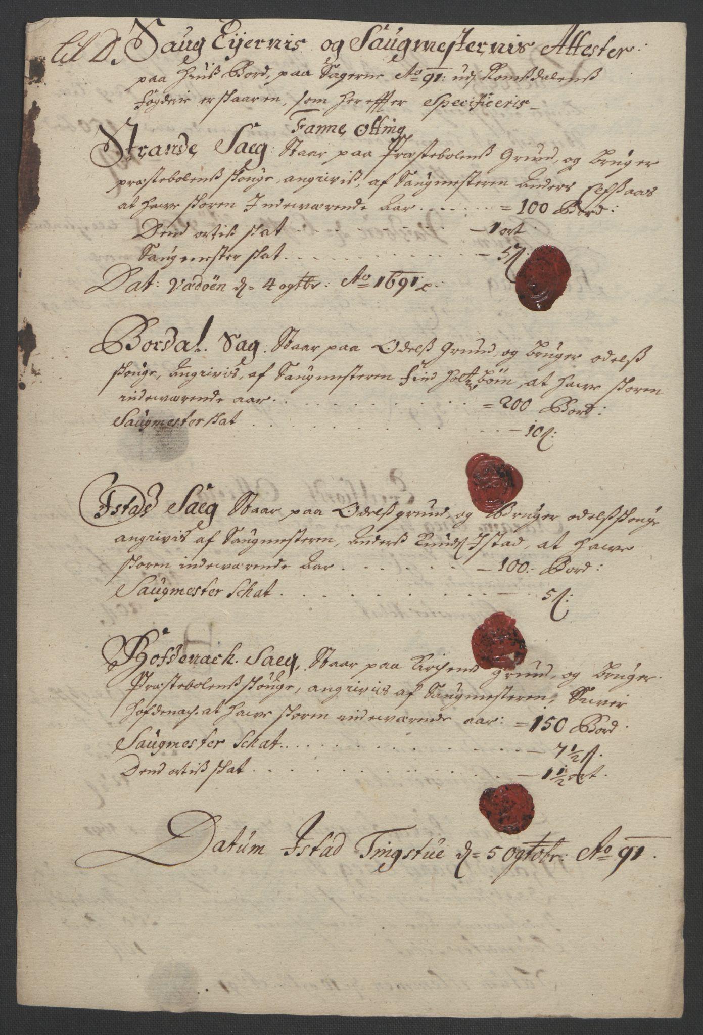 RA, Rentekammeret inntil 1814, Reviderte regnskaper, Fogderegnskap, R55/L3649: Fogderegnskap Romsdal, 1690-1691, s. 254