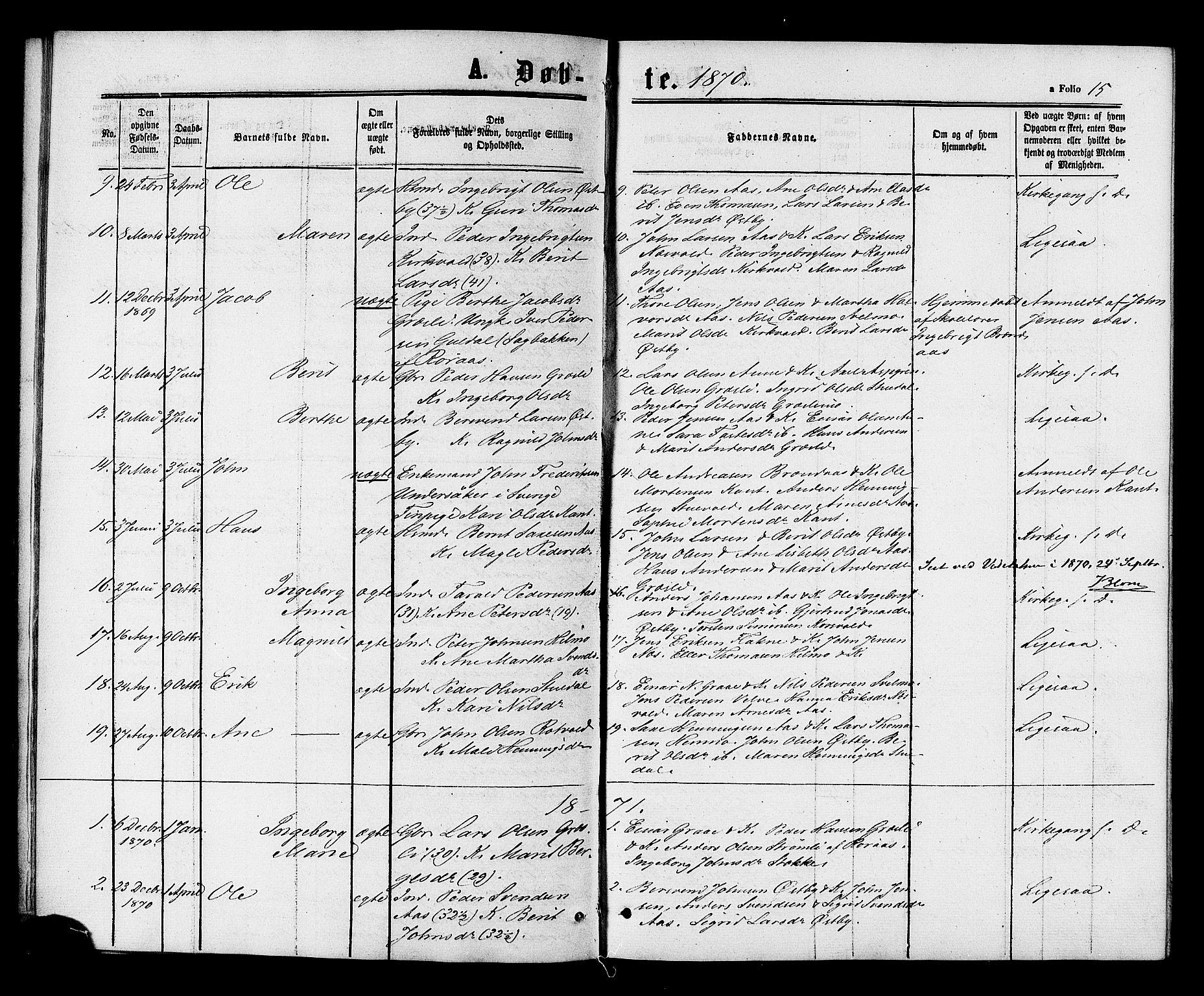 SAT, Ministerialprotokoller, klokkerbøker og fødselsregistre - Sør-Trøndelag, 698/L1163: Ministerialbok nr. 698A01, 1862-1887, s. 15