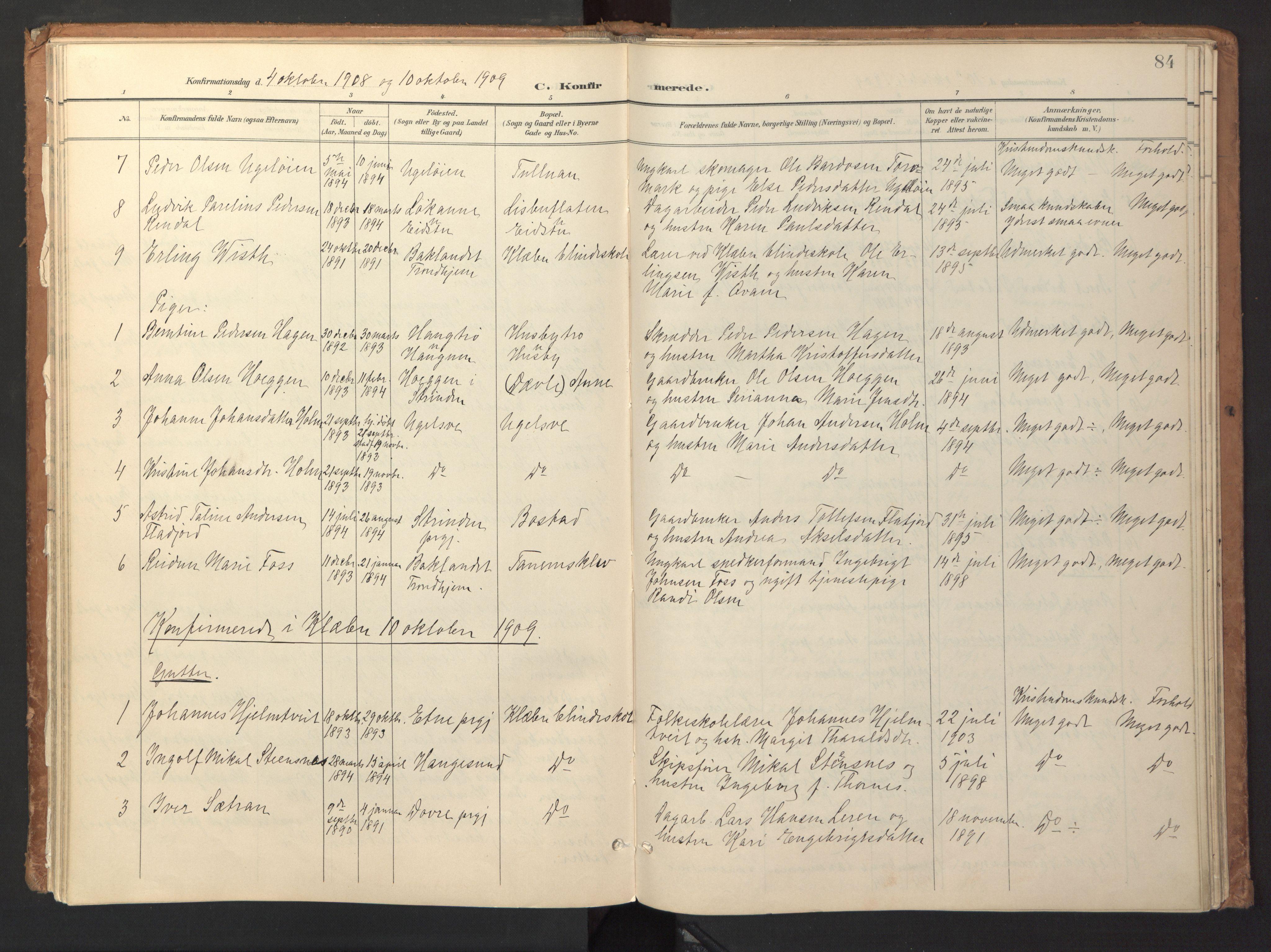 SAT, Ministerialprotokoller, klokkerbøker og fødselsregistre - Sør-Trøndelag, 618/L0448: Ministerialbok nr. 618A11, 1898-1916, s. 84
