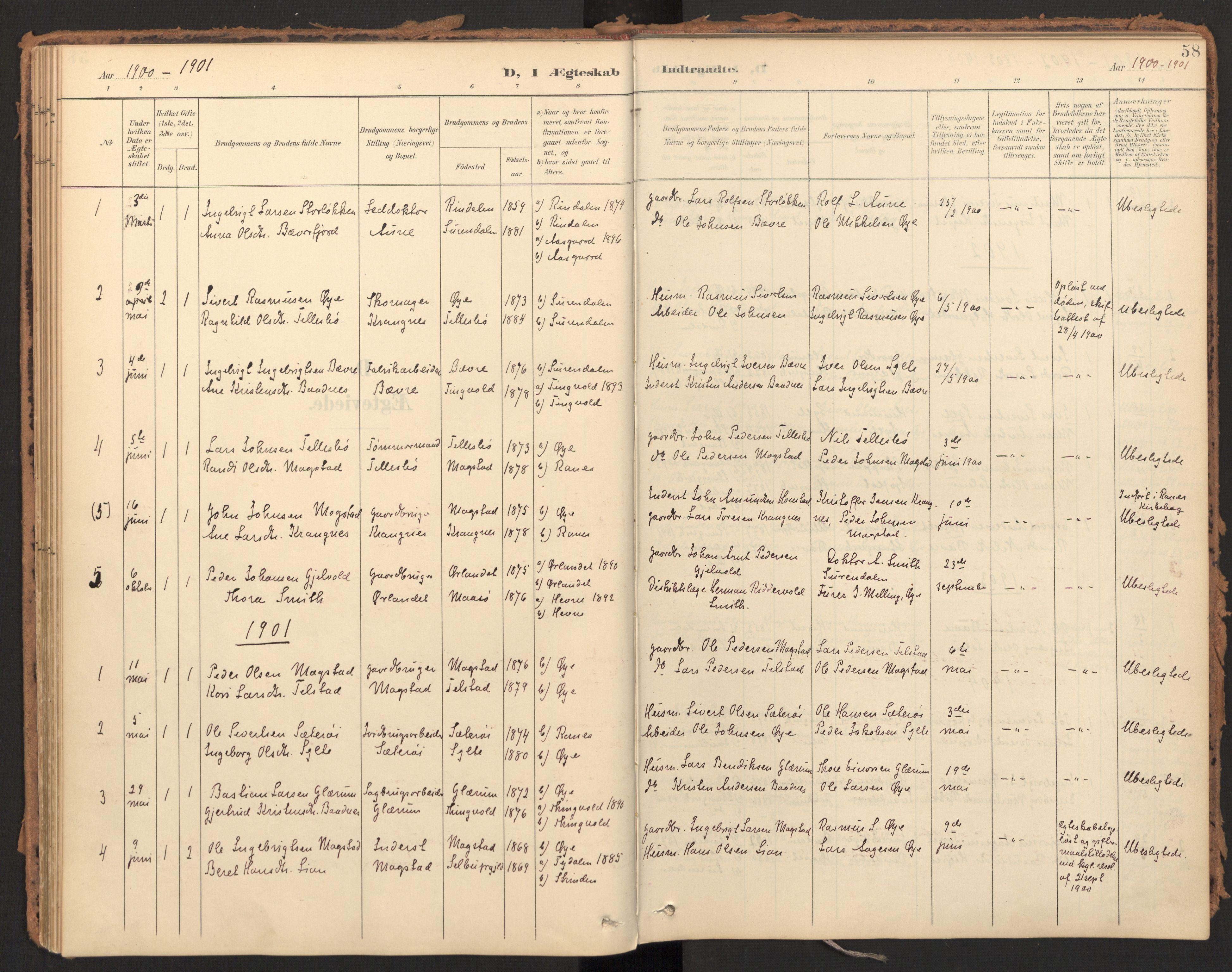 SAT, Ministerialprotokoller, klokkerbøker og fødselsregistre - Møre og Romsdal, 595/L1048: Ministerialbok nr. 595A10, 1900-1917, s. 58