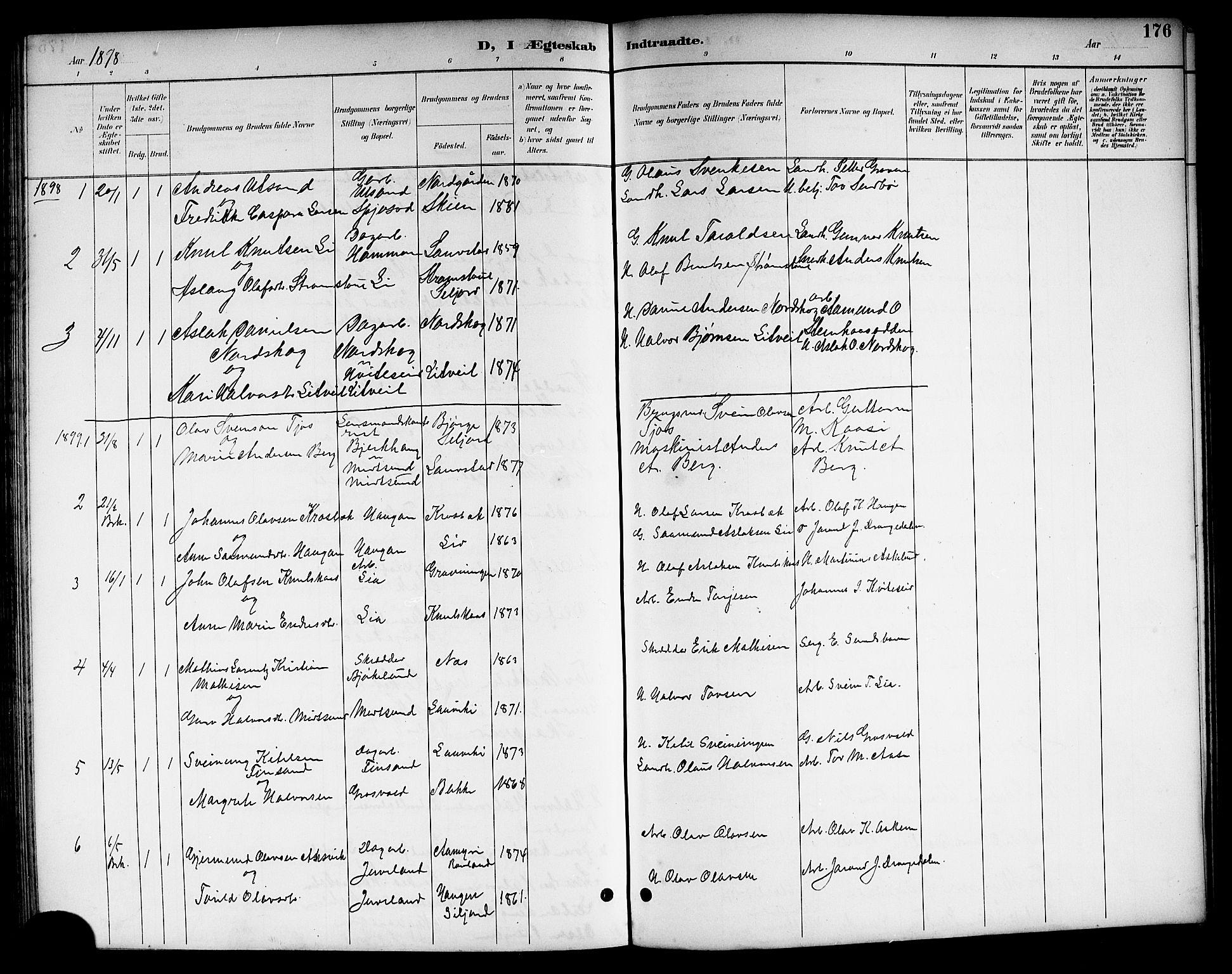 SAKO, Kviteseid kirkebøker, G/Ga/L0002: Klokkerbok nr. I 2, 1893-1918, s. 176