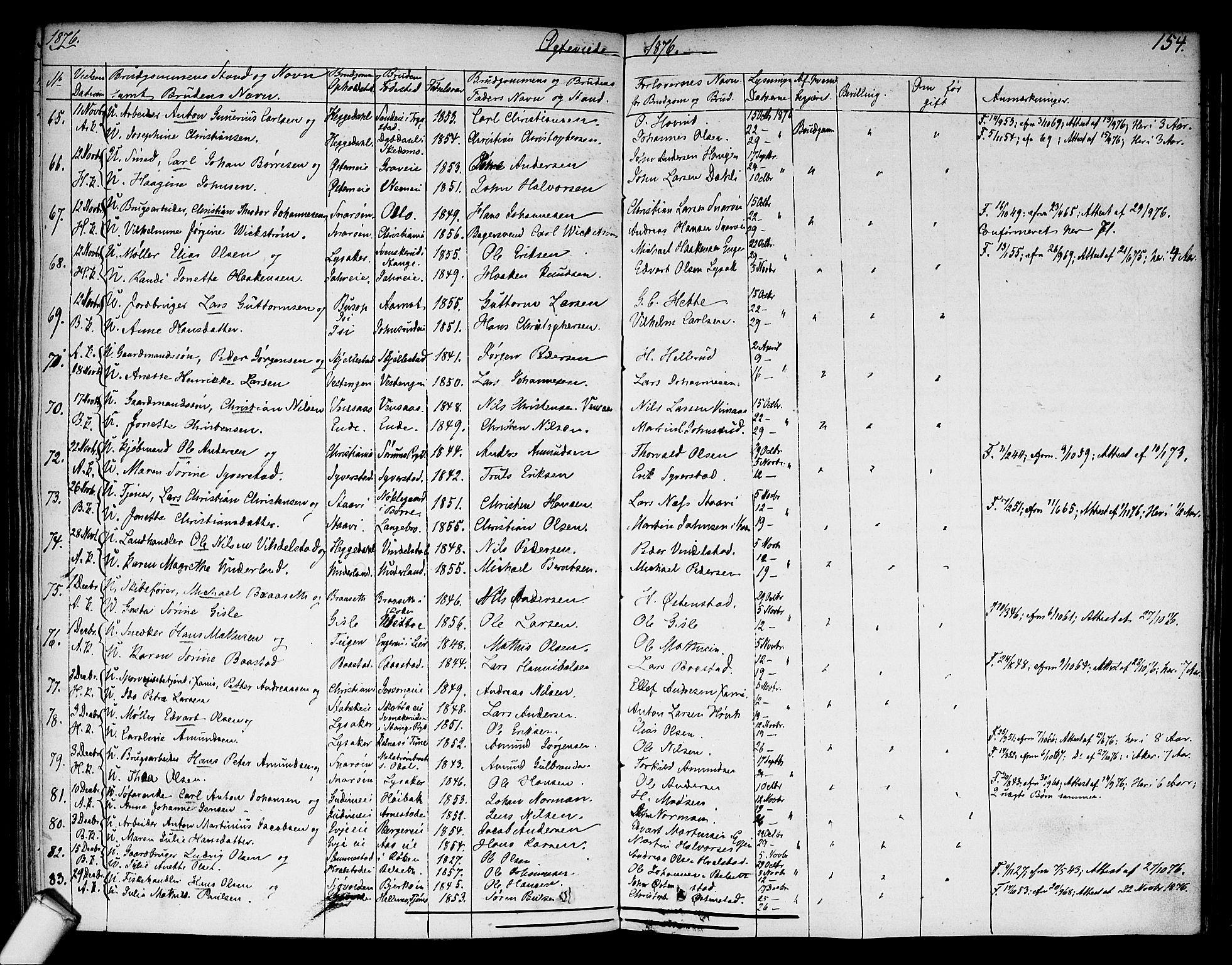 SAO, Asker prestekontor Kirkebøker, F/Fa/L0010: Ministerialbok nr. I 10, 1825-1878, s. 154