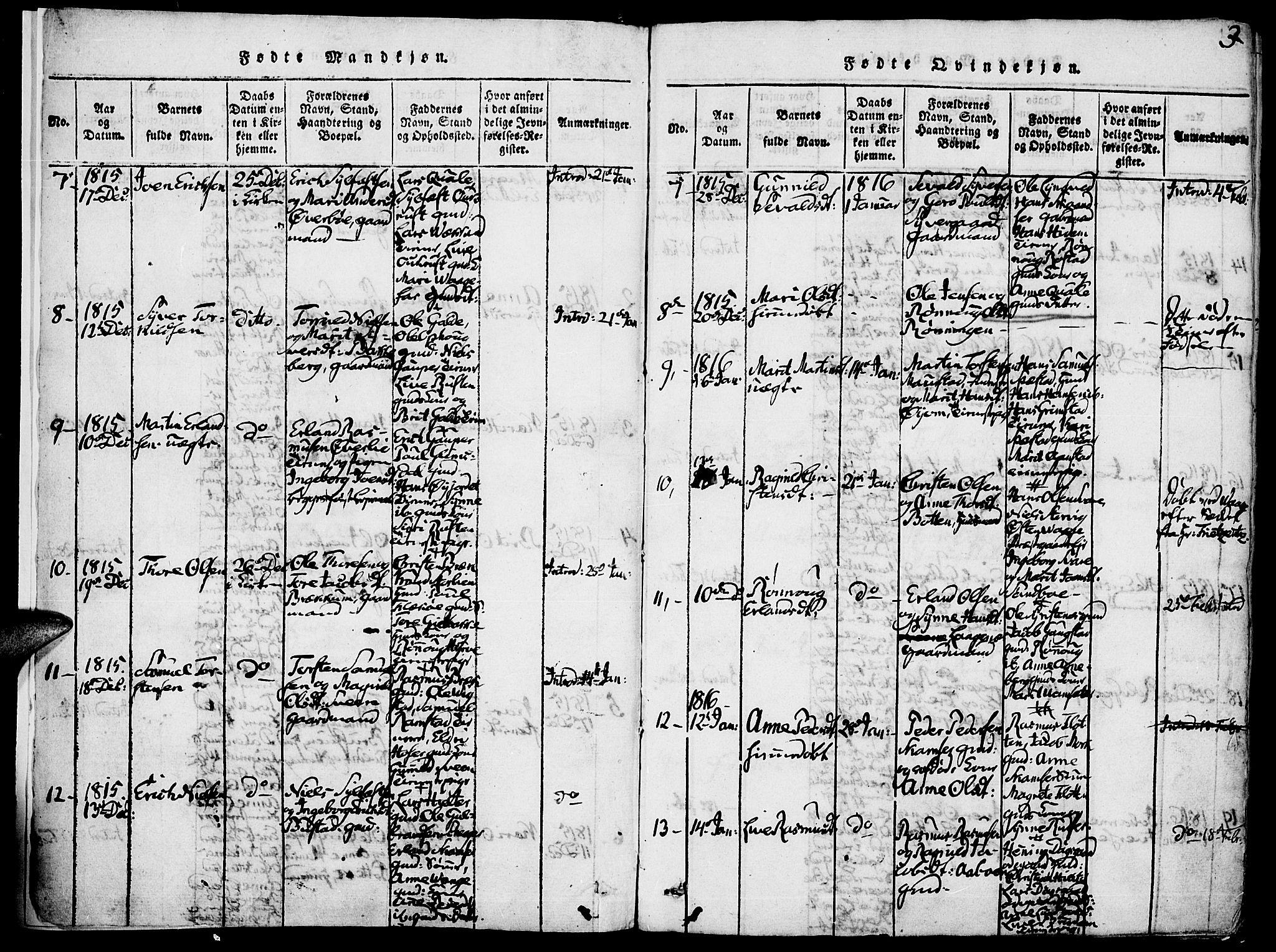 SAH, Lom prestekontor, K/L0004: Ministerialbok nr. 4, 1815-1825, s. 3