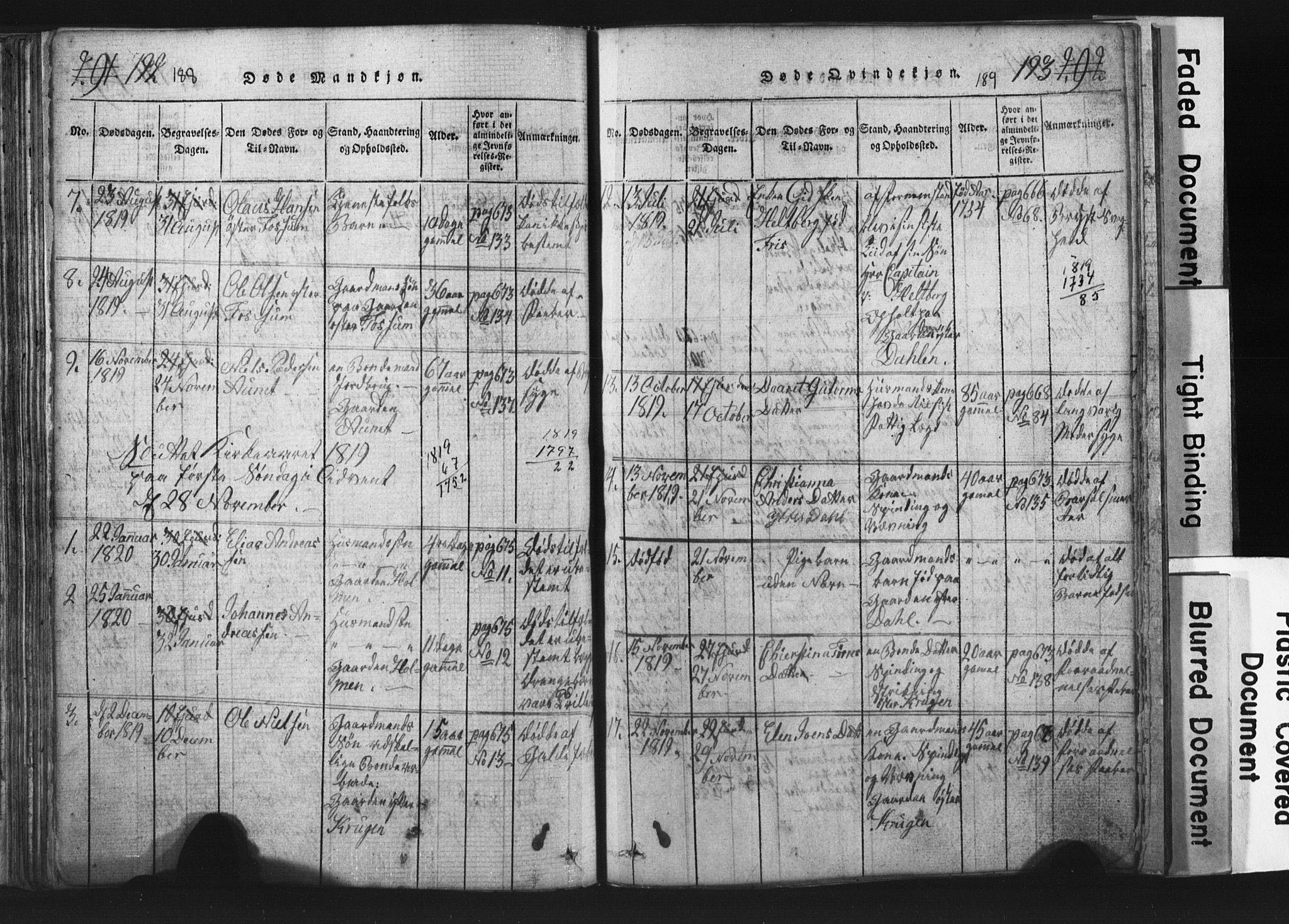 SAT, Ministerialprotokoller, klokkerbøker og fødselsregistre - Nord-Trøndelag, 701/L0017: Klokkerbok nr. 701C01, 1817-1825, s. 188-189