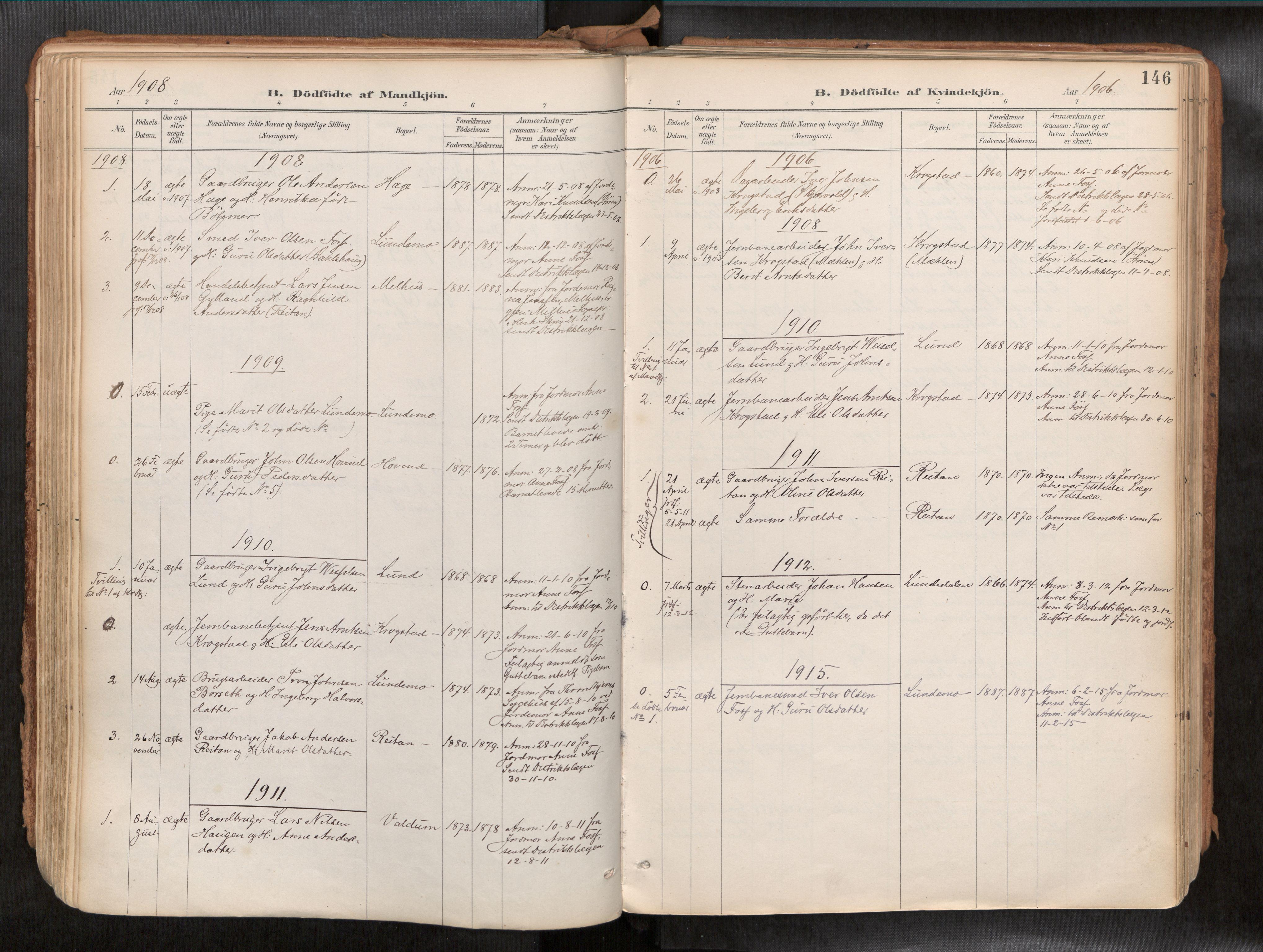 SAT, Ministerialprotokoller, klokkerbøker og fødselsregistre - Sør-Trøndelag, 692/L1105b: Ministerialbok nr. 692A06, 1891-1934, s. 146
