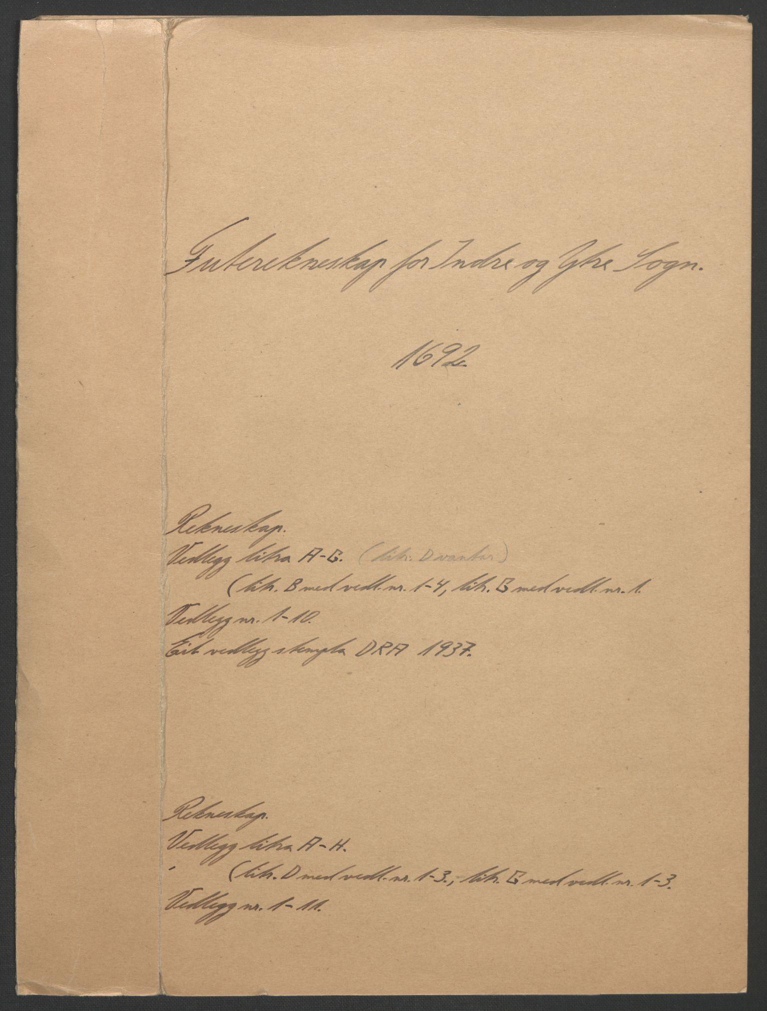 RA, Rentekammeret inntil 1814, Reviderte regnskaper, Fogderegnskap, R52/L3306: Fogderegnskap Sogn, 1691-1692, s. 105
