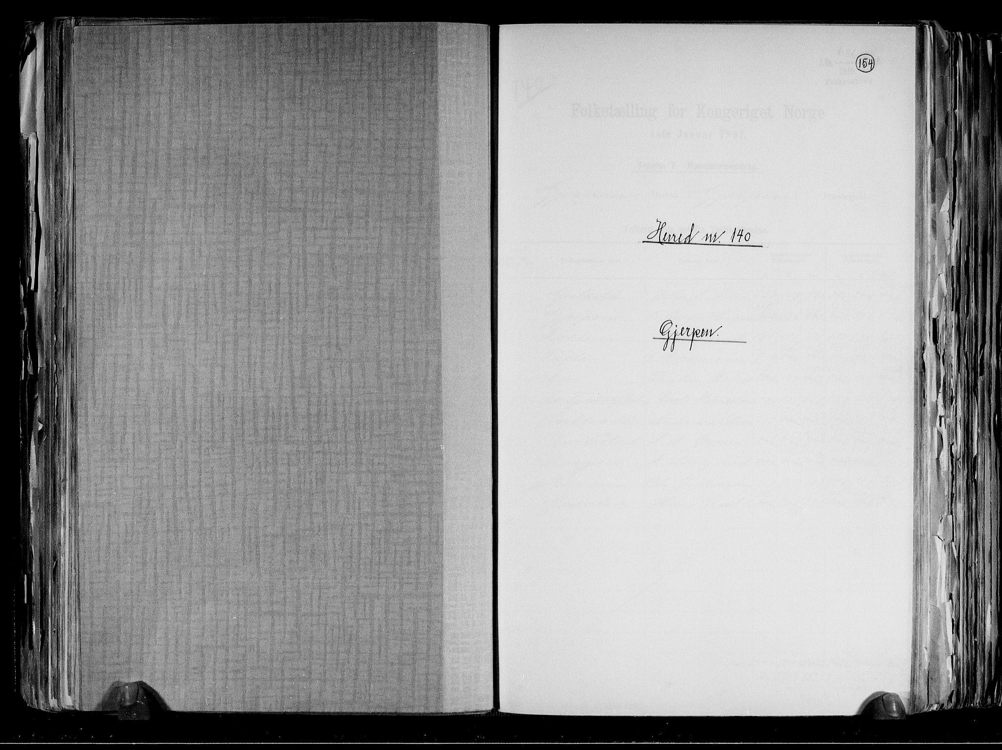 RA, Folketelling 1891 for 0812 Gjerpen herred, 1891, s. 1