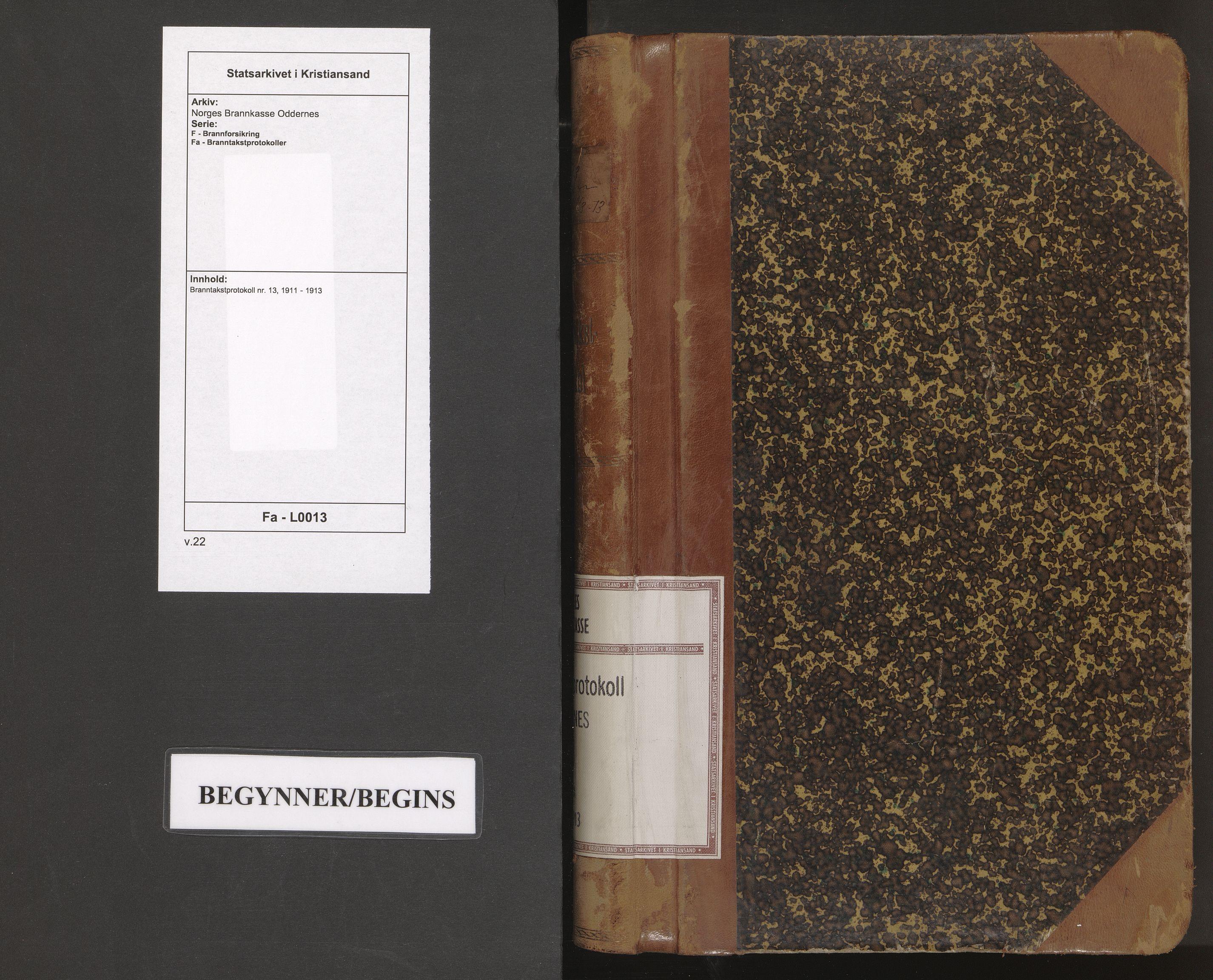 SAK, Norges Brannkasse Oddernes, F/Fa/L0013: Branntakstprotokoll nr. 13, 1911-1913