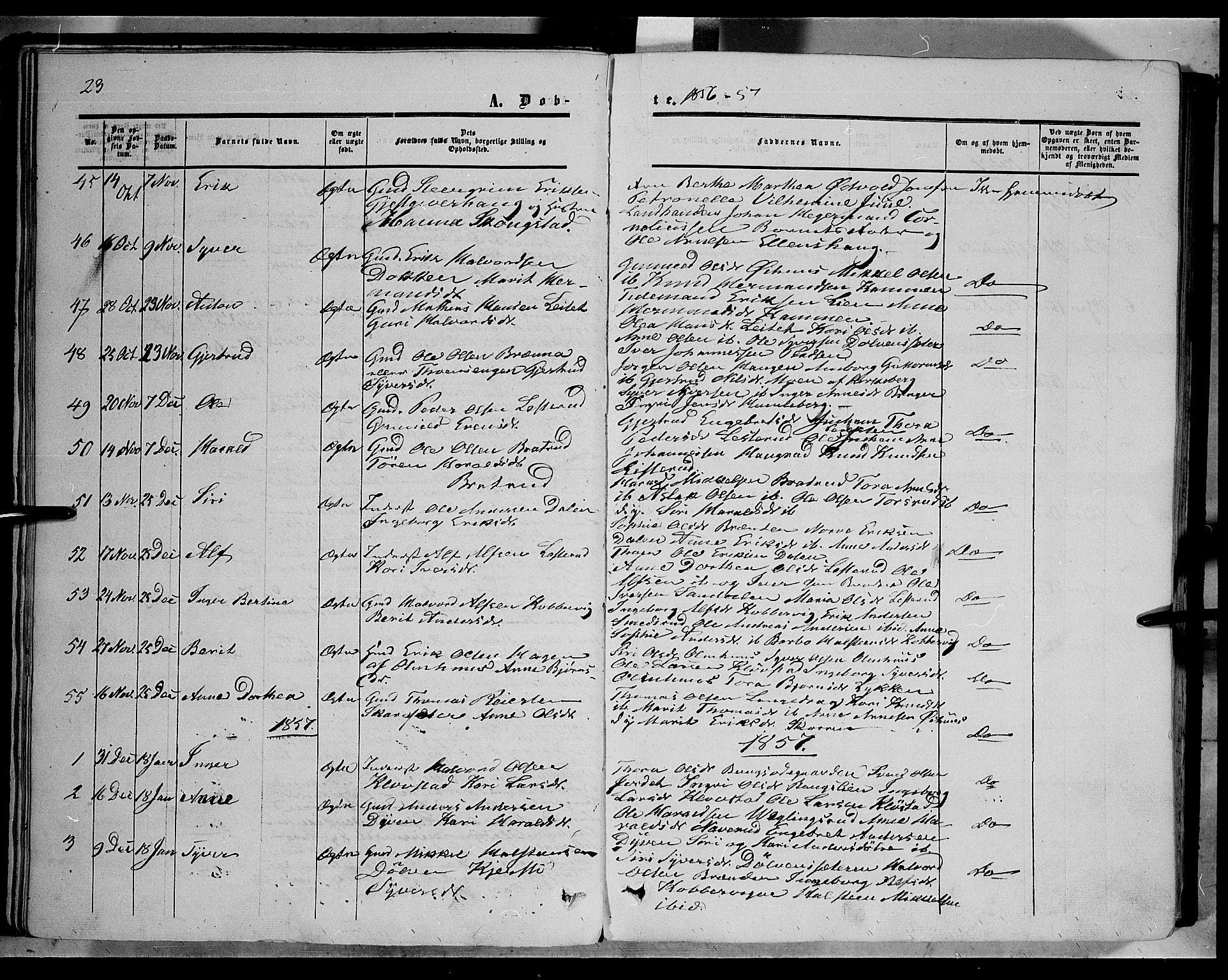 SAH, Sør-Aurdal prestekontor, Ministerialbok nr. 5, 1849-1876, s. 23