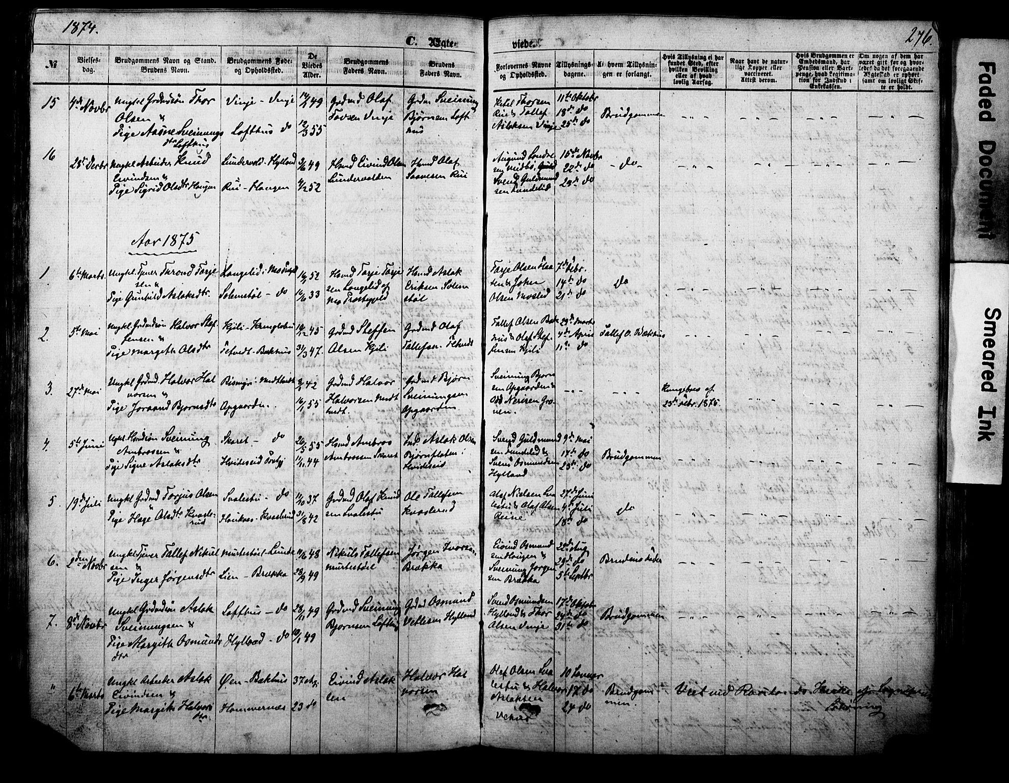 SAKO, Vinje kirkebøker, F/Fa/L0005: Ministerialbok nr. I 5, 1870-1886, s. 276