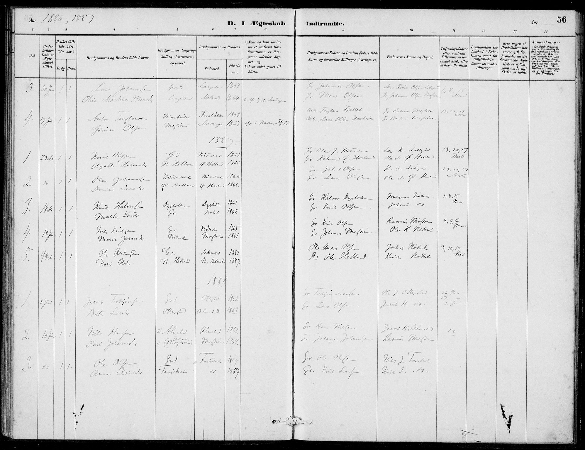 SAB, Hosanger Sokneprestembete, H/Haa: Ministerialbok nr. C  1, 1880-1900, s. 56