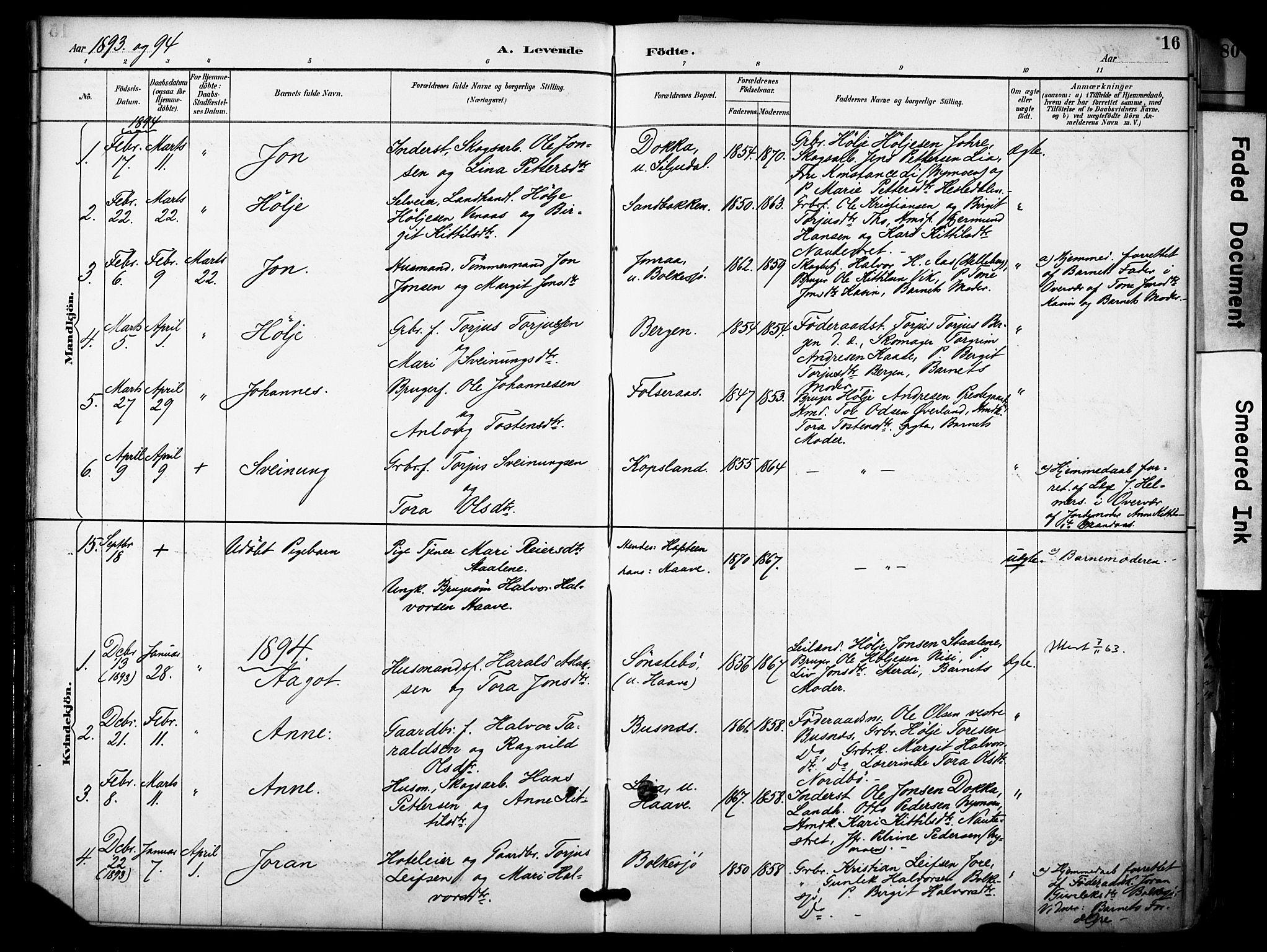 SAKO, Gransherad kirkebøker, F/Fa/L0005: Ministerialbok nr. I 5, 1887-1916, s. 16