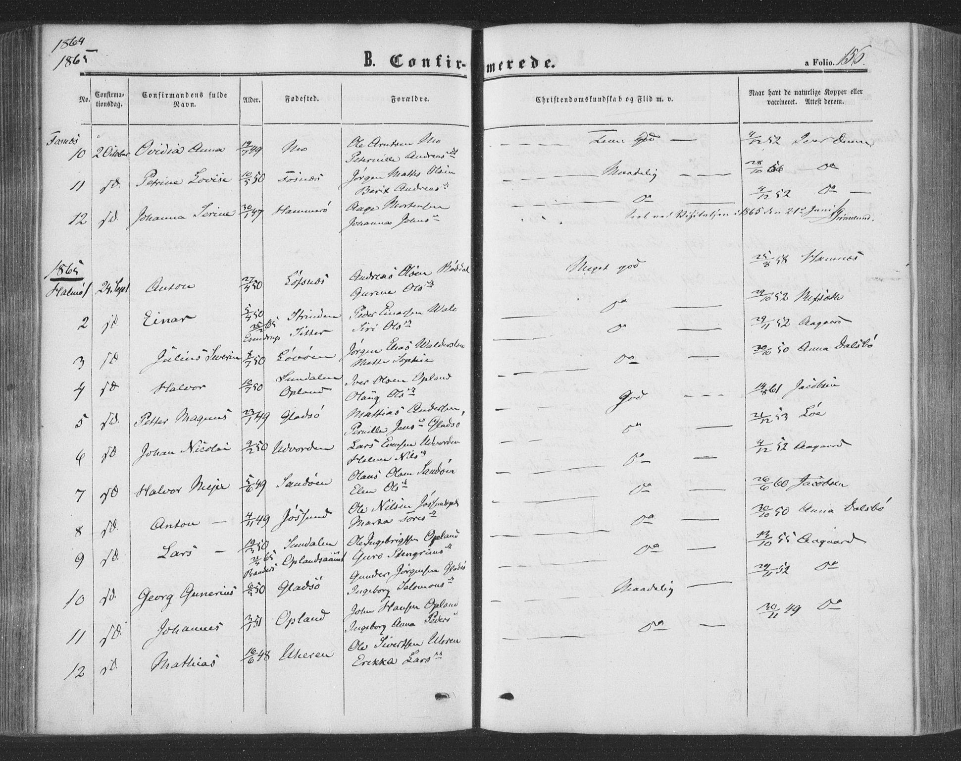 SAT, Ministerialprotokoller, klokkerbøker og fødselsregistre - Nord-Trøndelag, 773/L0615: Ministerialbok nr. 773A06, 1857-1870, s. 156
