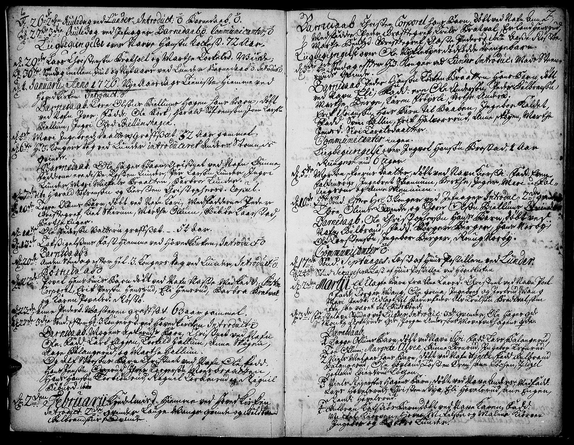 SAH, Jevnaker prestekontor, Ministerialbok nr. 2, 1725-1751, s. 6-7