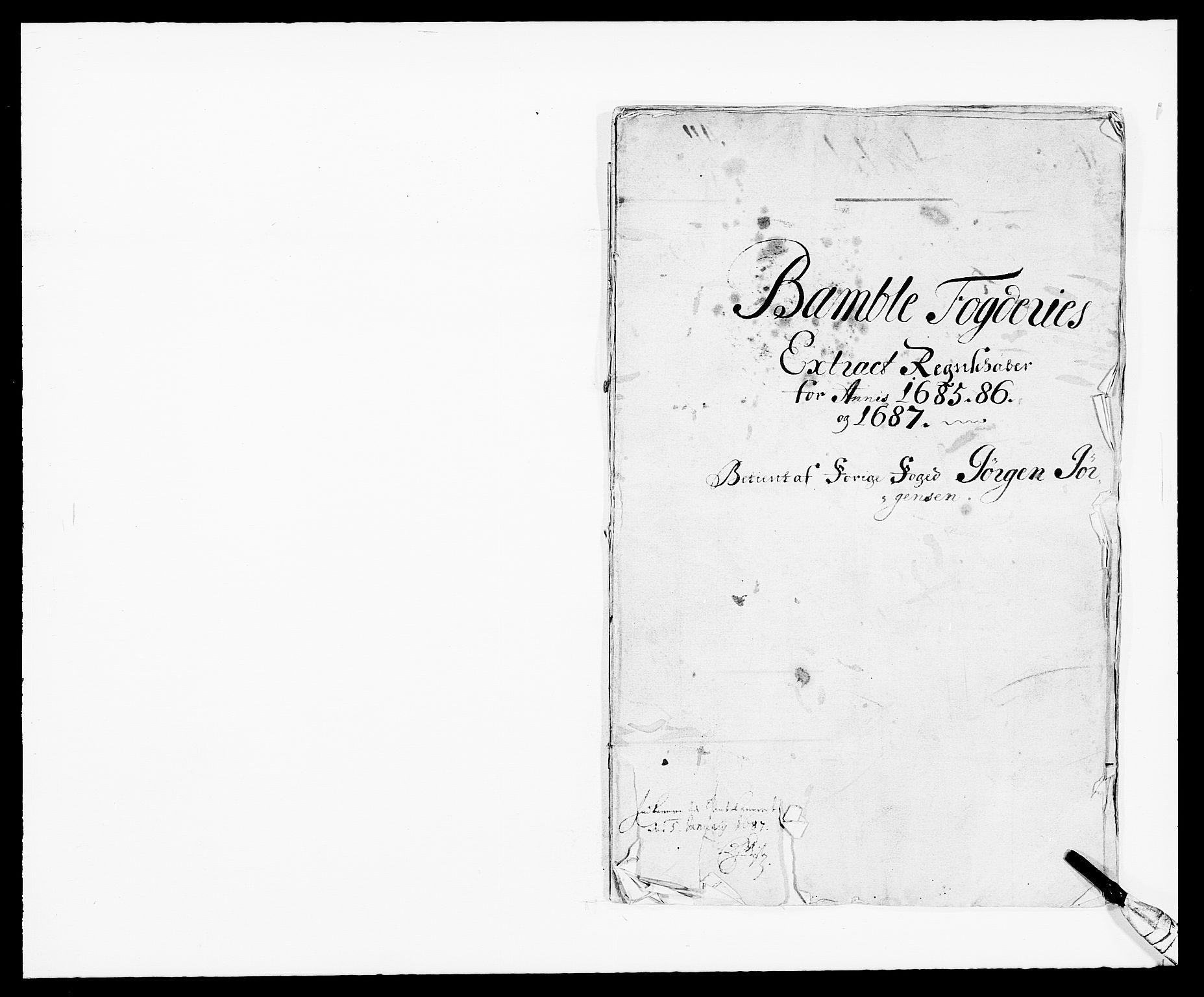RA, Rentekammeret inntil 1814, Reviderte regnskaper, Fogderegnskap, R34/L2048: Fogderegnskap Bamble, 1685-1687, s. 1