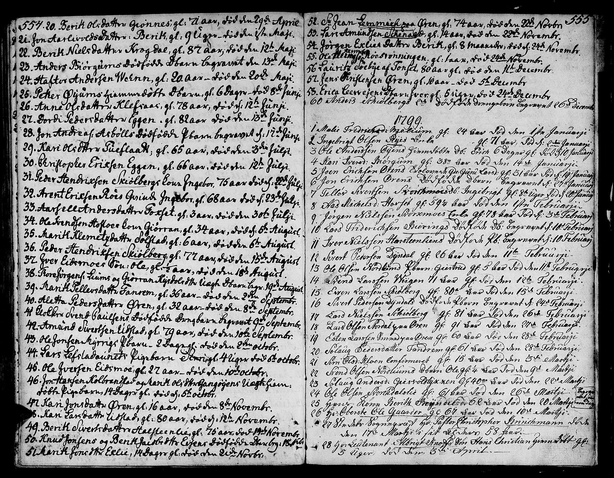 SAT, Ministerialprotokoller, klokkerbøker og fødselsregistre - Sør-Trøndelag, 668/L0802: Ministerialbok nr. 668A02, 1776-1799, s. 554-555
